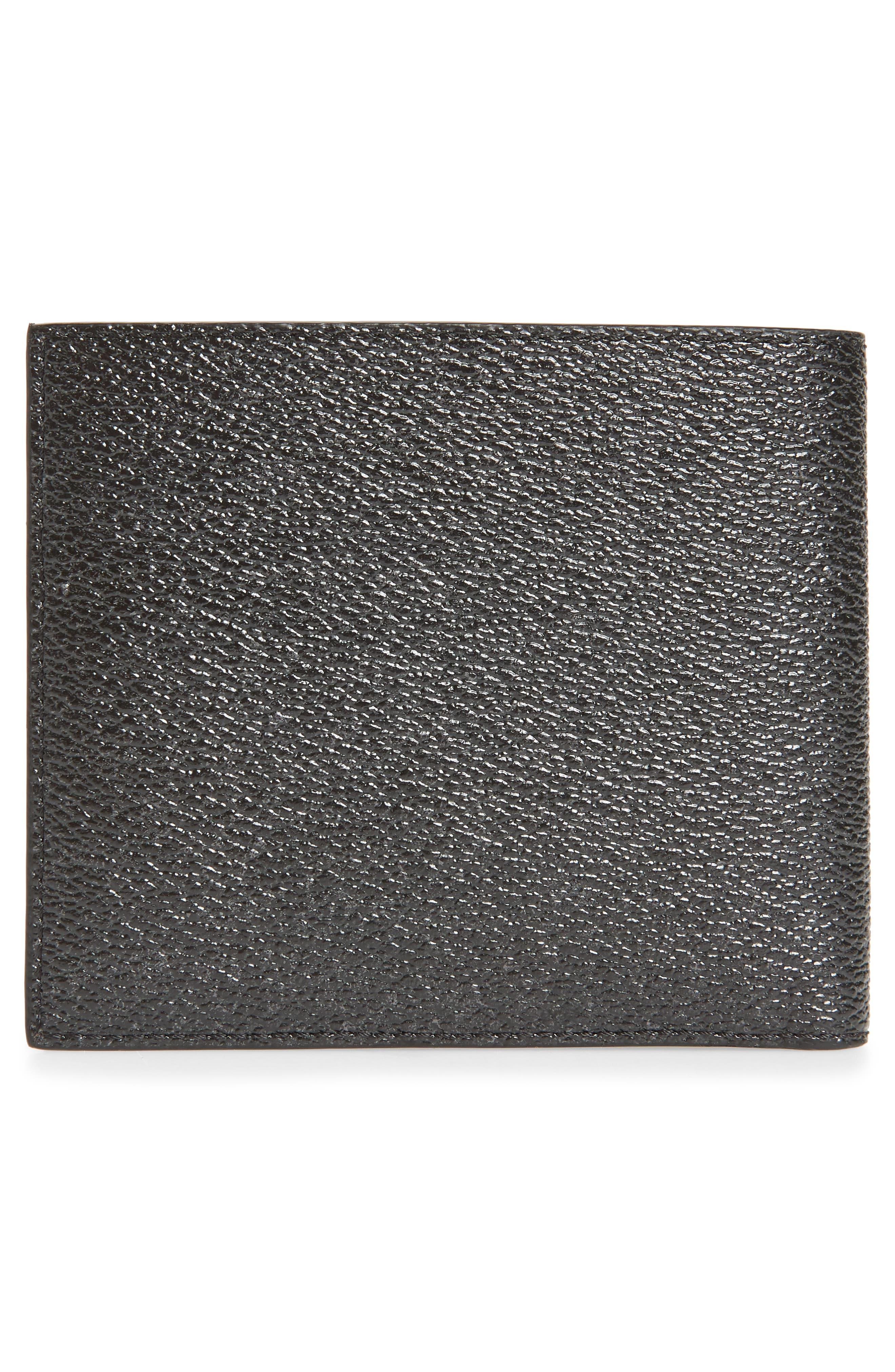 Lion Print Faux Leather Bifold Wallet,                             Alternate thumbnail 3, color,                             BLACK MULTI