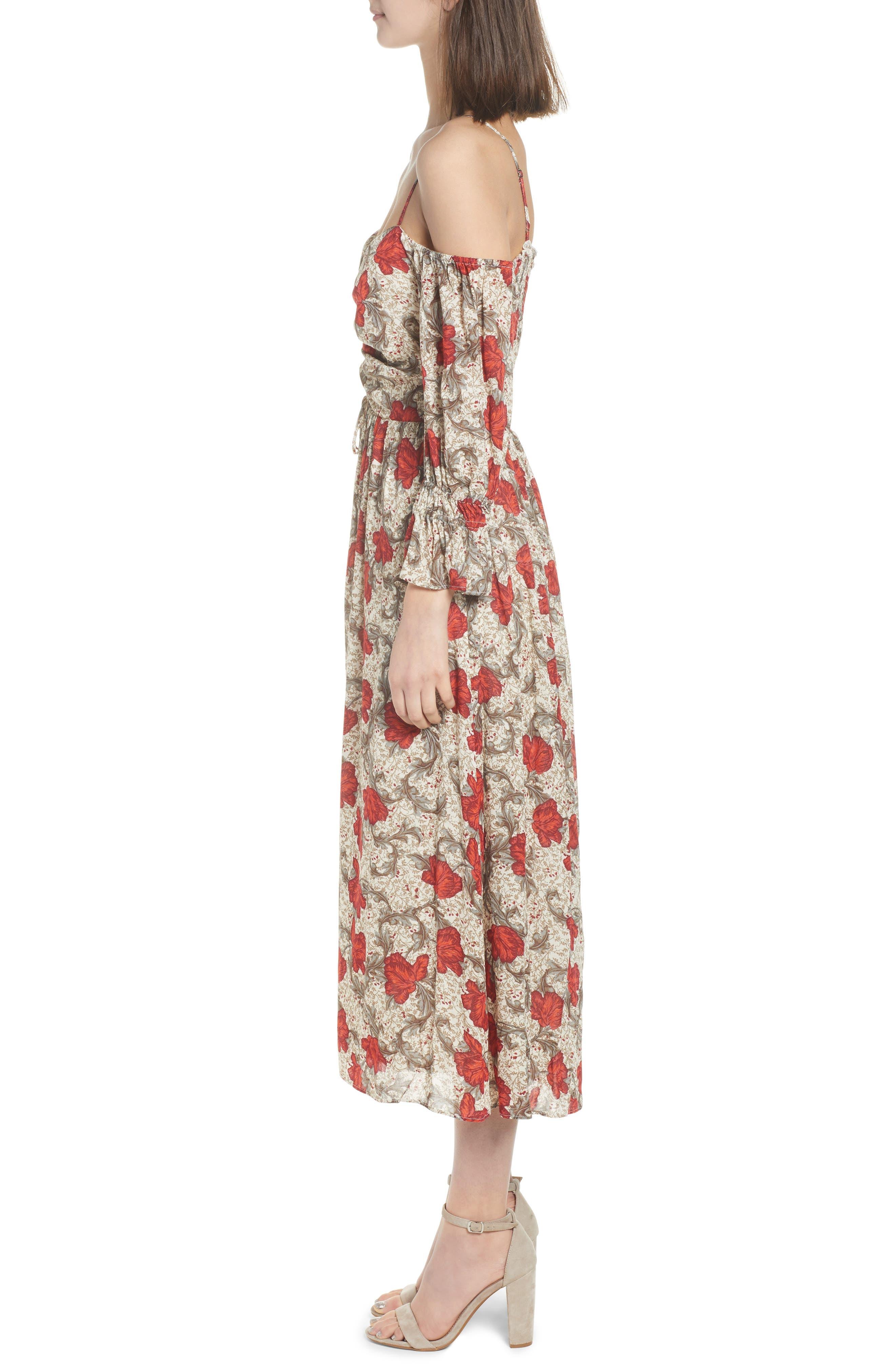 Smocked Back Cold Shoulder Dress,                             Alternate thumbnail 3, color,                             250