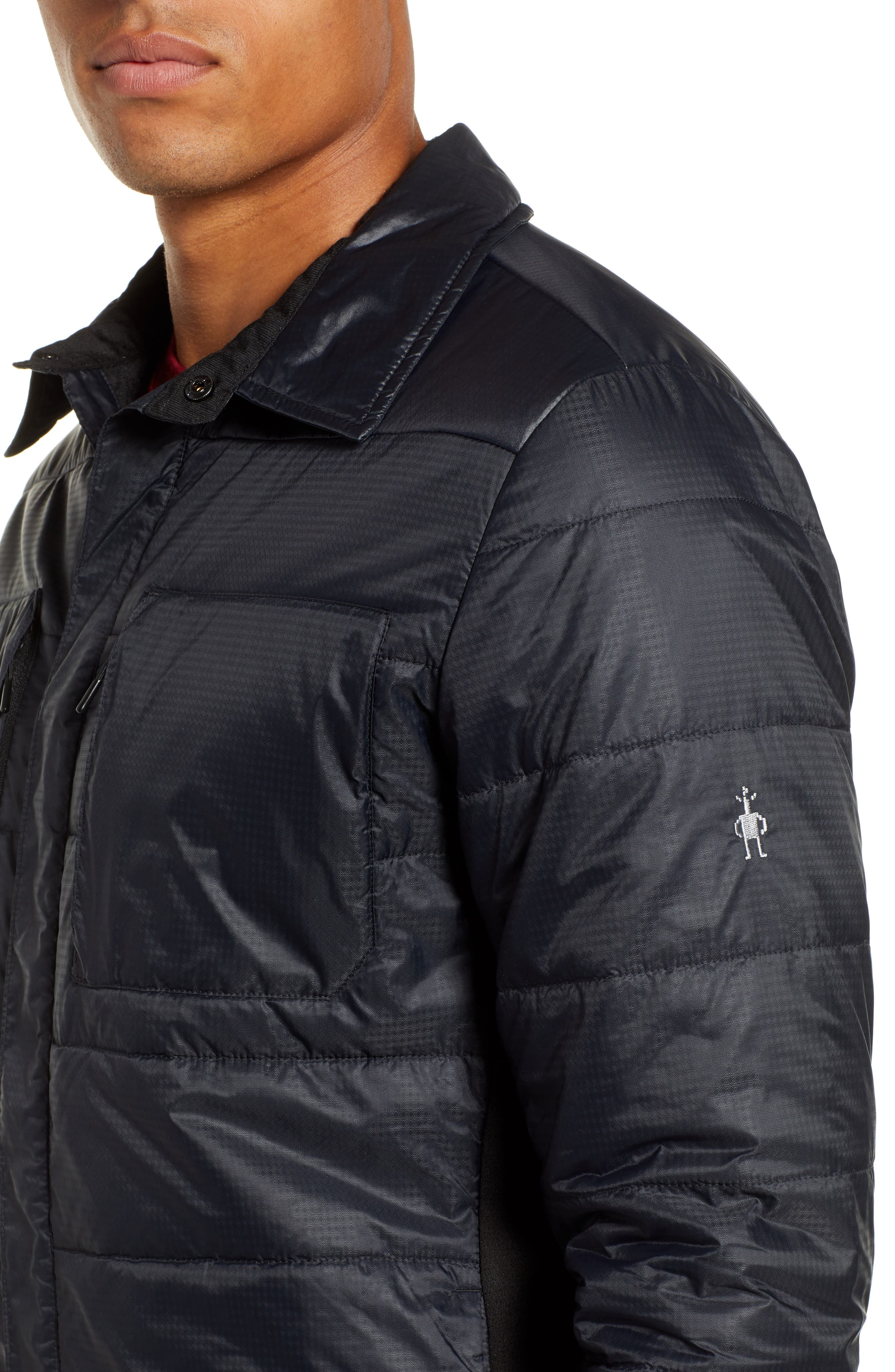 SmartLoft 60 Shirt Jacket,                             Alternate thumbnail 4, color,                             BLACK