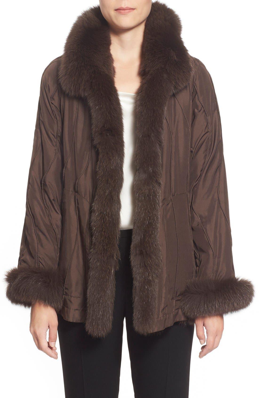 GeorgeSimonton Reversible Silk & Genuine Fox Fur Topper,                             Main thumbnail 4, color,