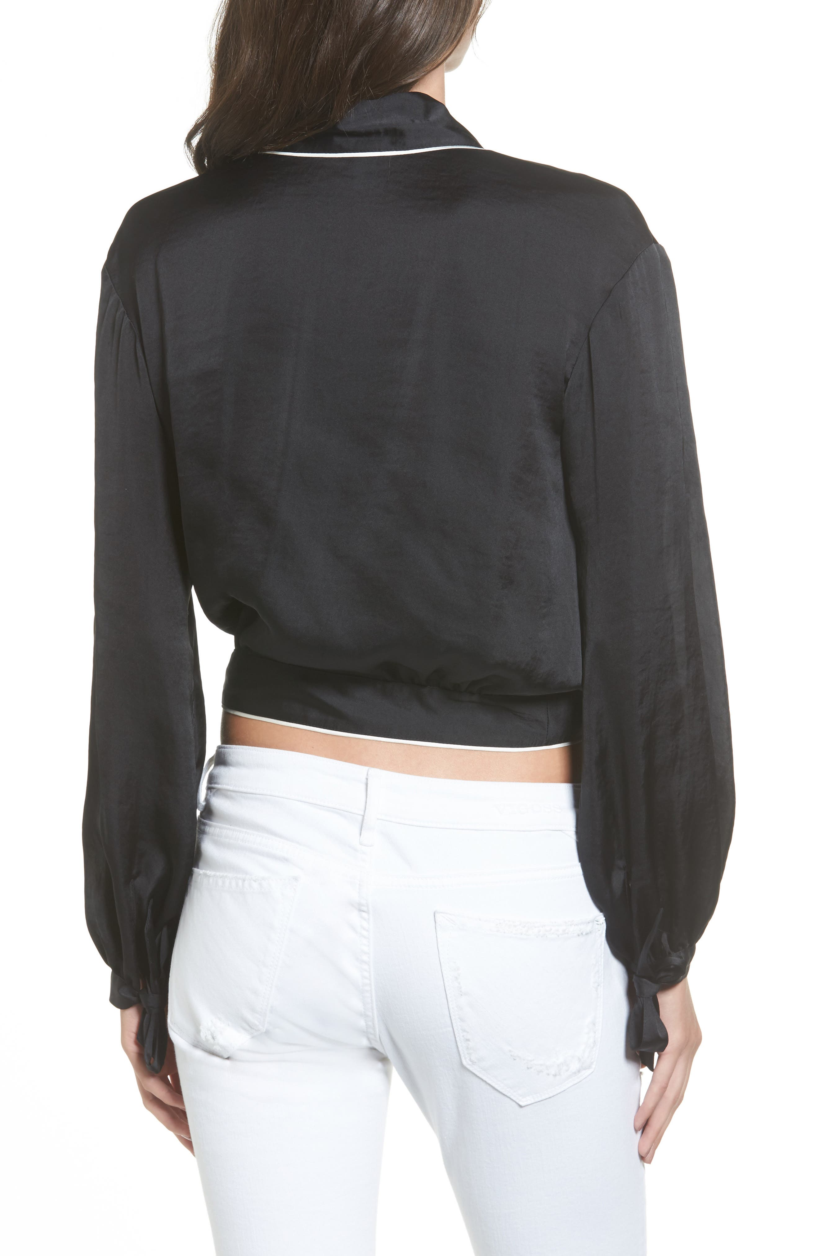 Piped Satin Wrap Top,                             Alternate thumbnail 2, color,                             001