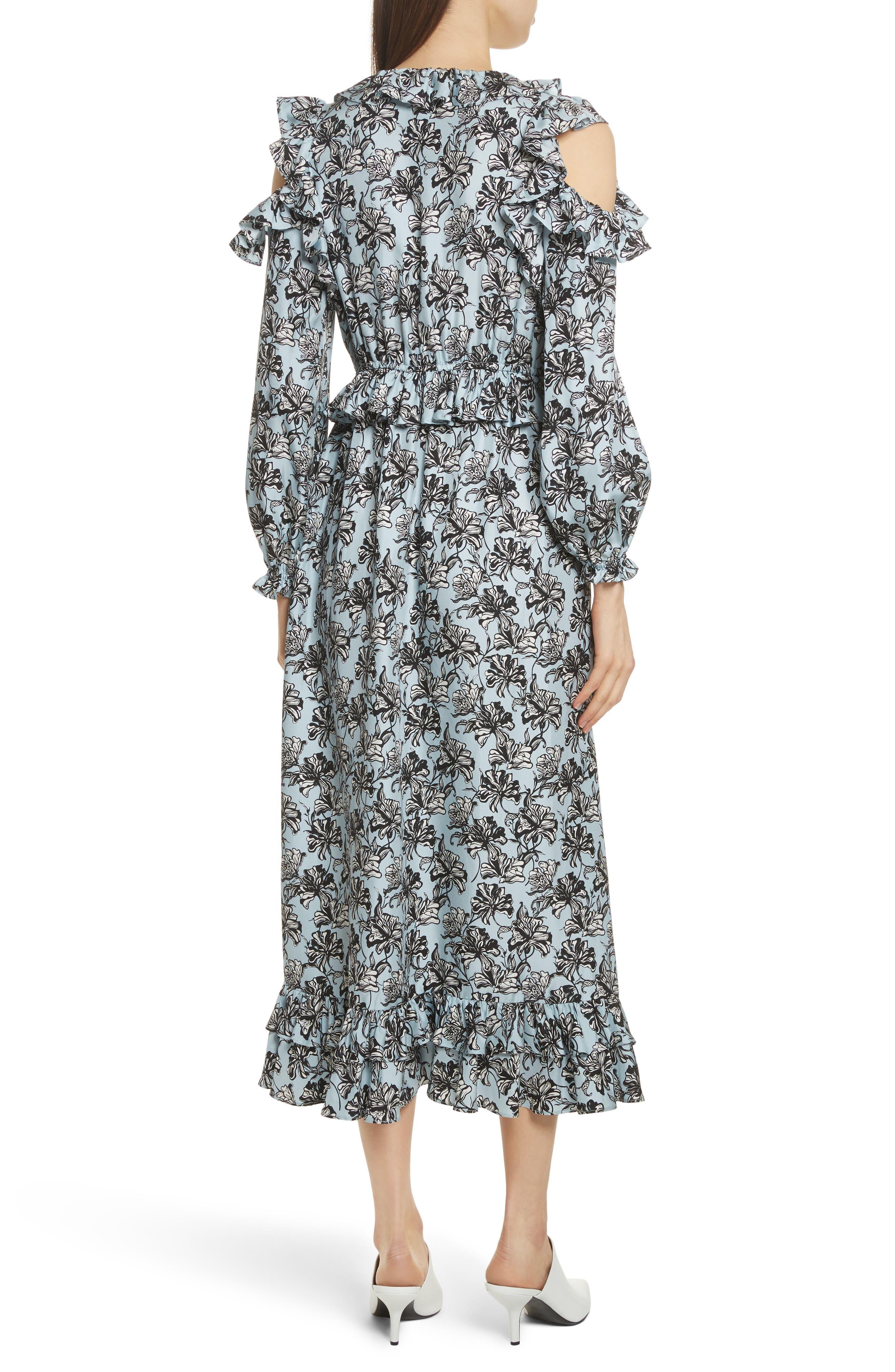 Ruffle Trim Cold Shoulder Silk Dress,                             Alternate thumbnail 2, color,                             420
