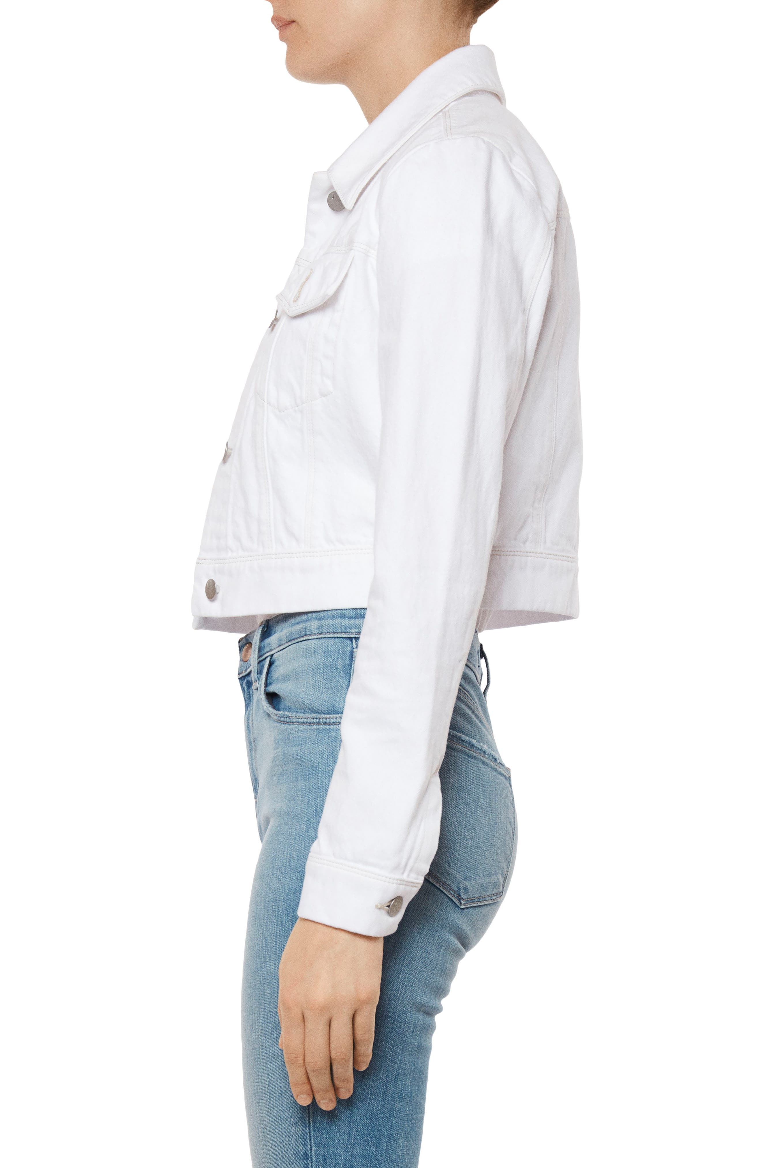 Faye Crop Denim Jacket,                             Alternate thumbnail 3, color,                             WHITE