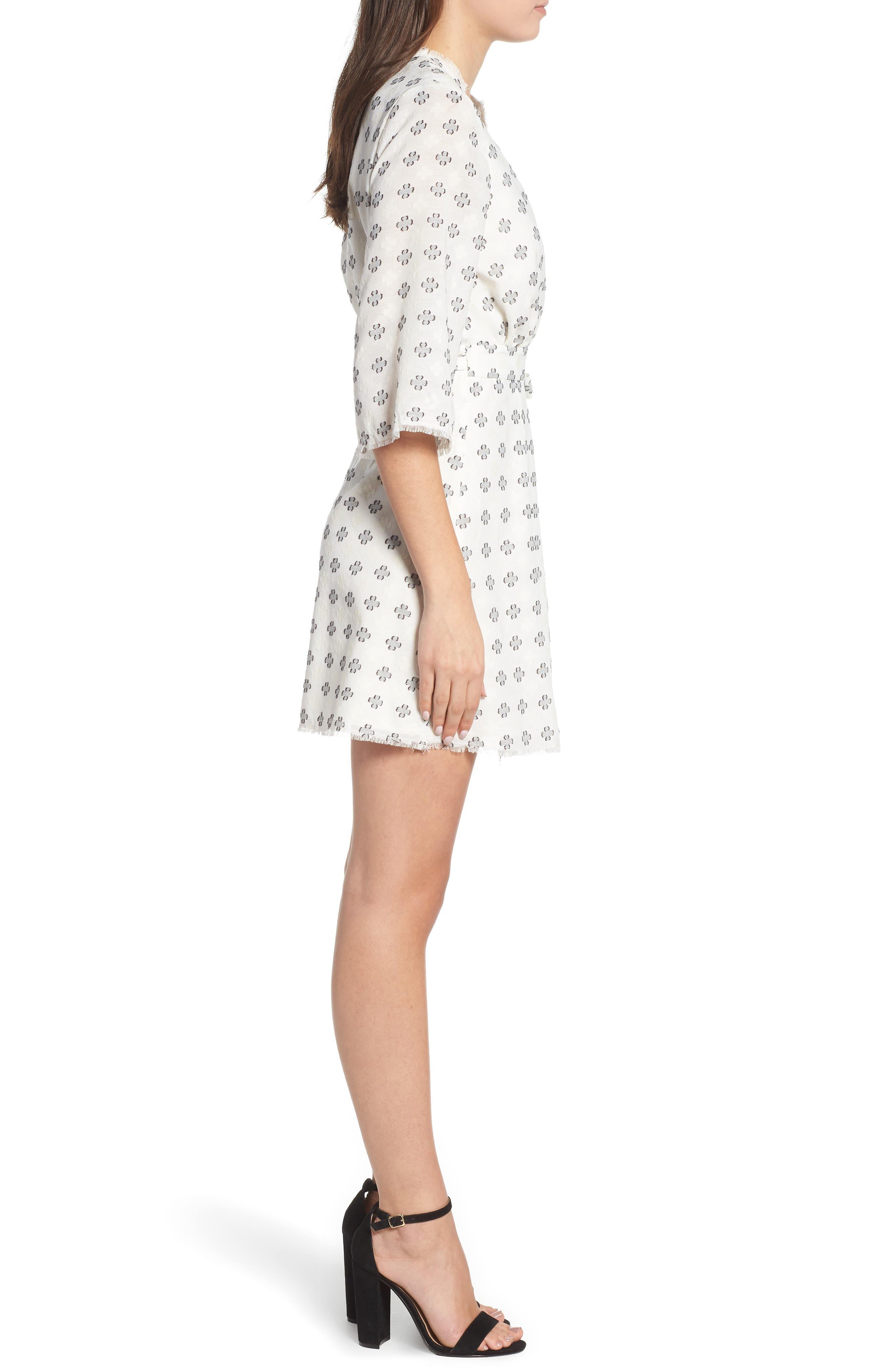 Ruth Wrap Minidress,                             Alternate thumbnail 3, color,                             BLACK AND WHITE CLOVER