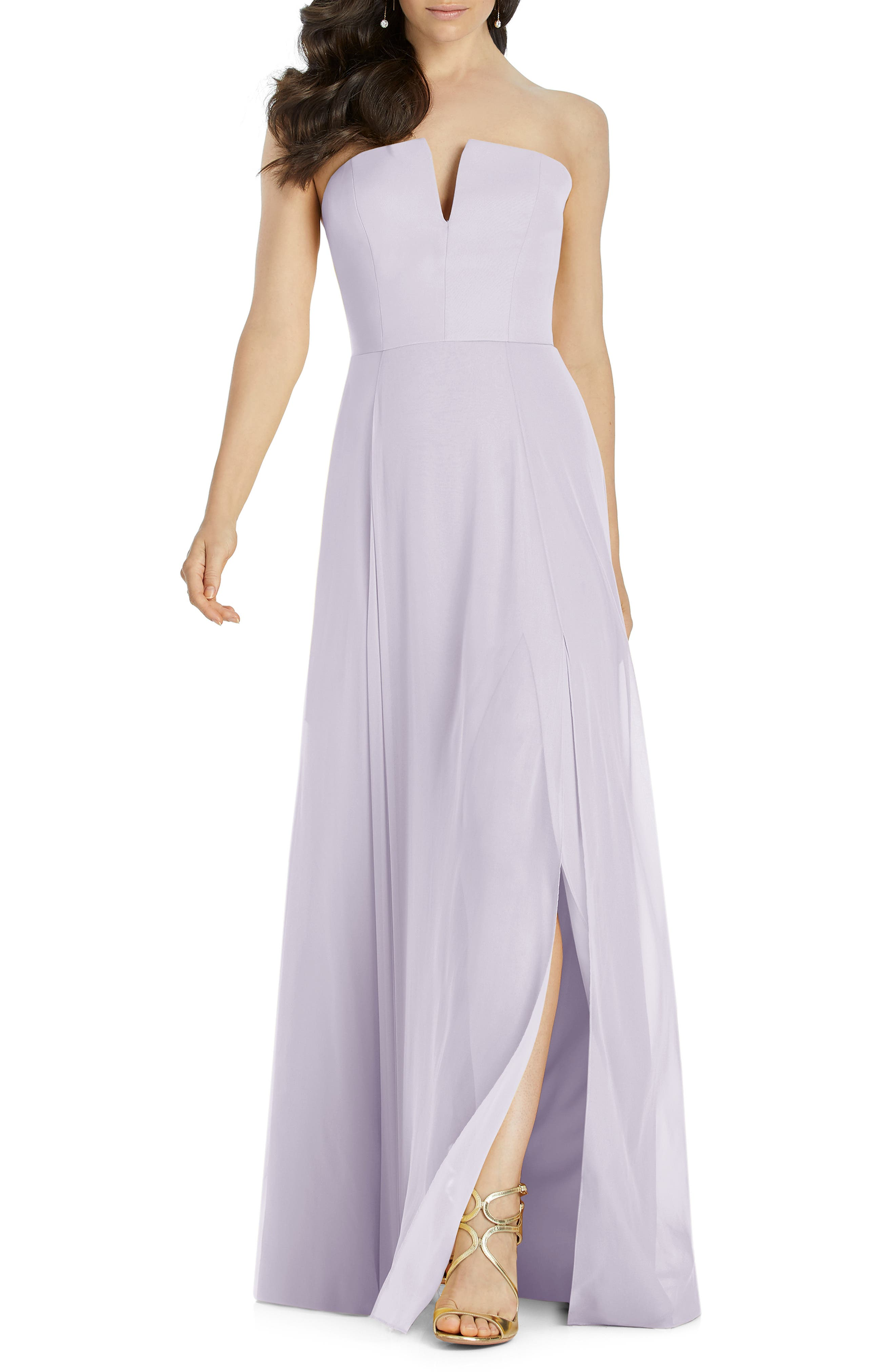 Dessy Collection Strapless Chiffon Evening Dress, Purple