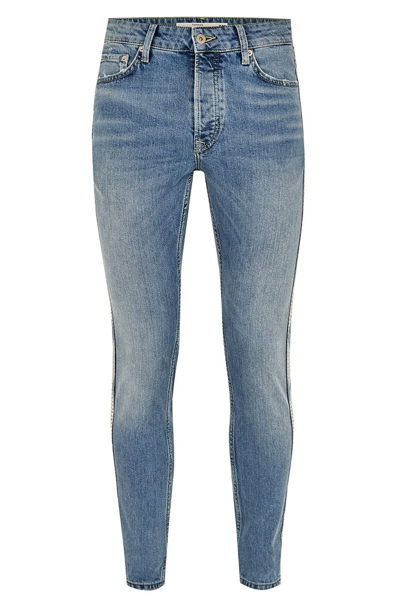 Side Stitched Stretch Skinny Jeans,                             Alternate thumbnail 4, color,                             400