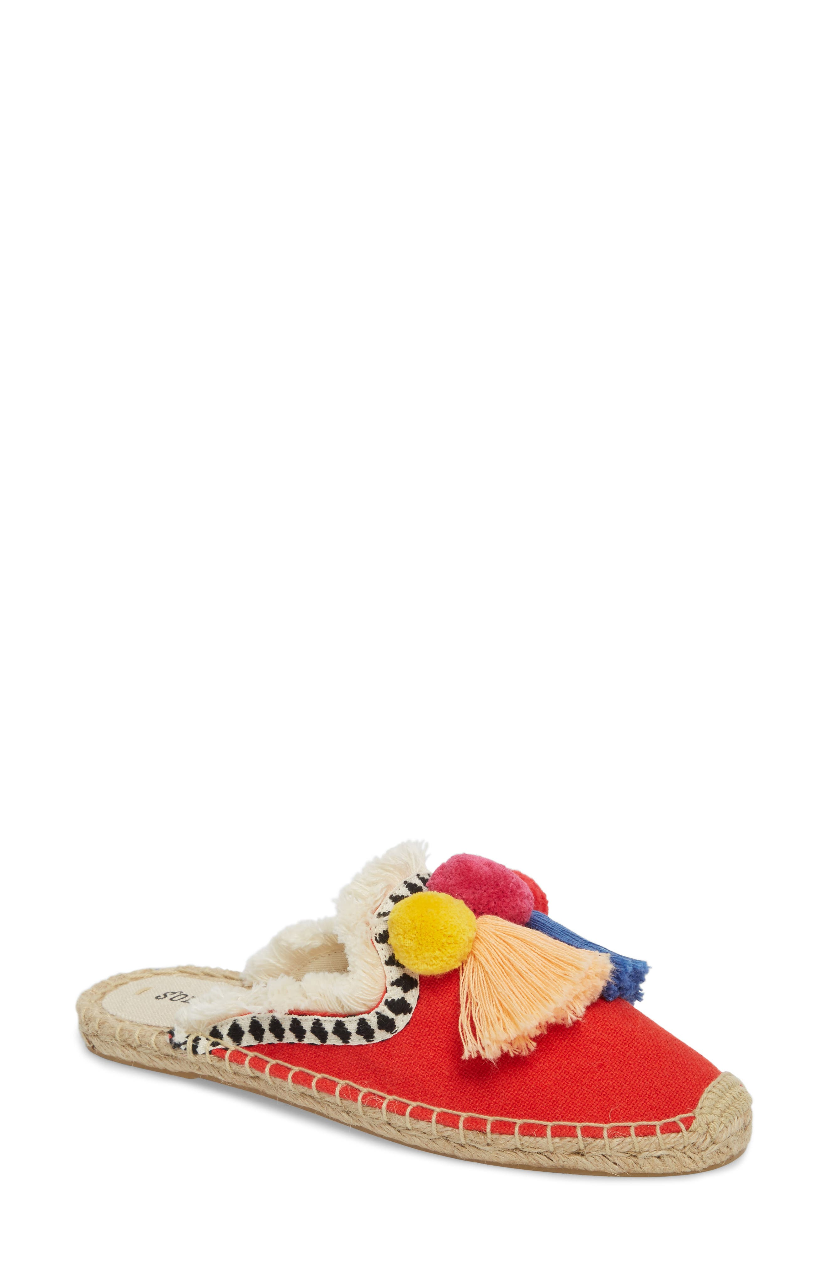 Pompom Espadrille Mule,                         Main,                         color, RED MULTI CANVAS