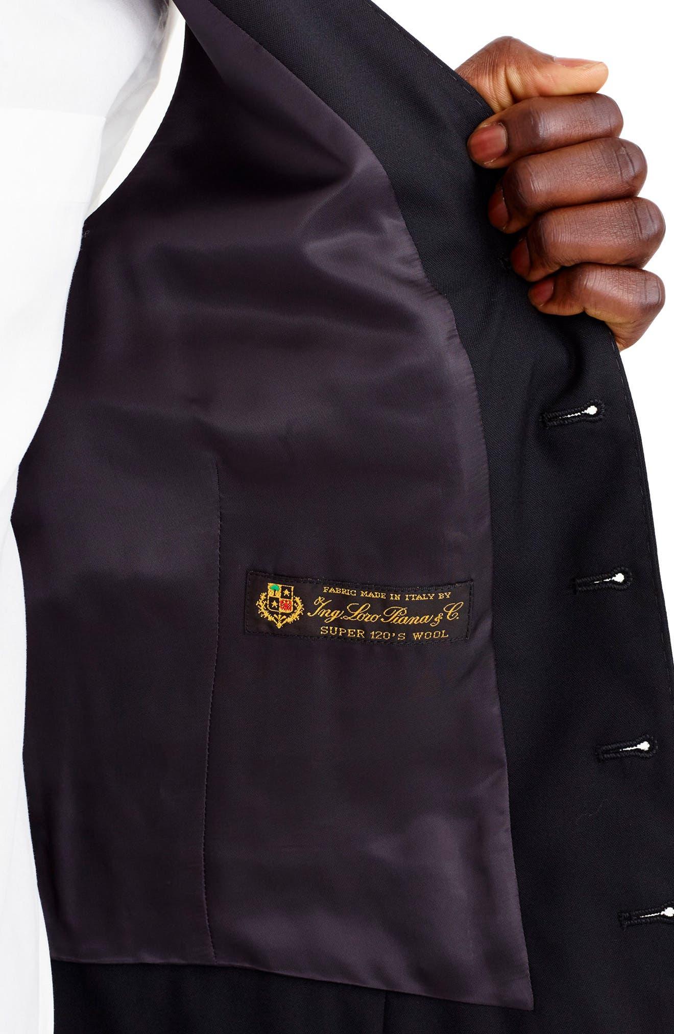 Ludlow Trim Fit Solid Wool Vest,                             Alternate thumbnail 3, color,                             001