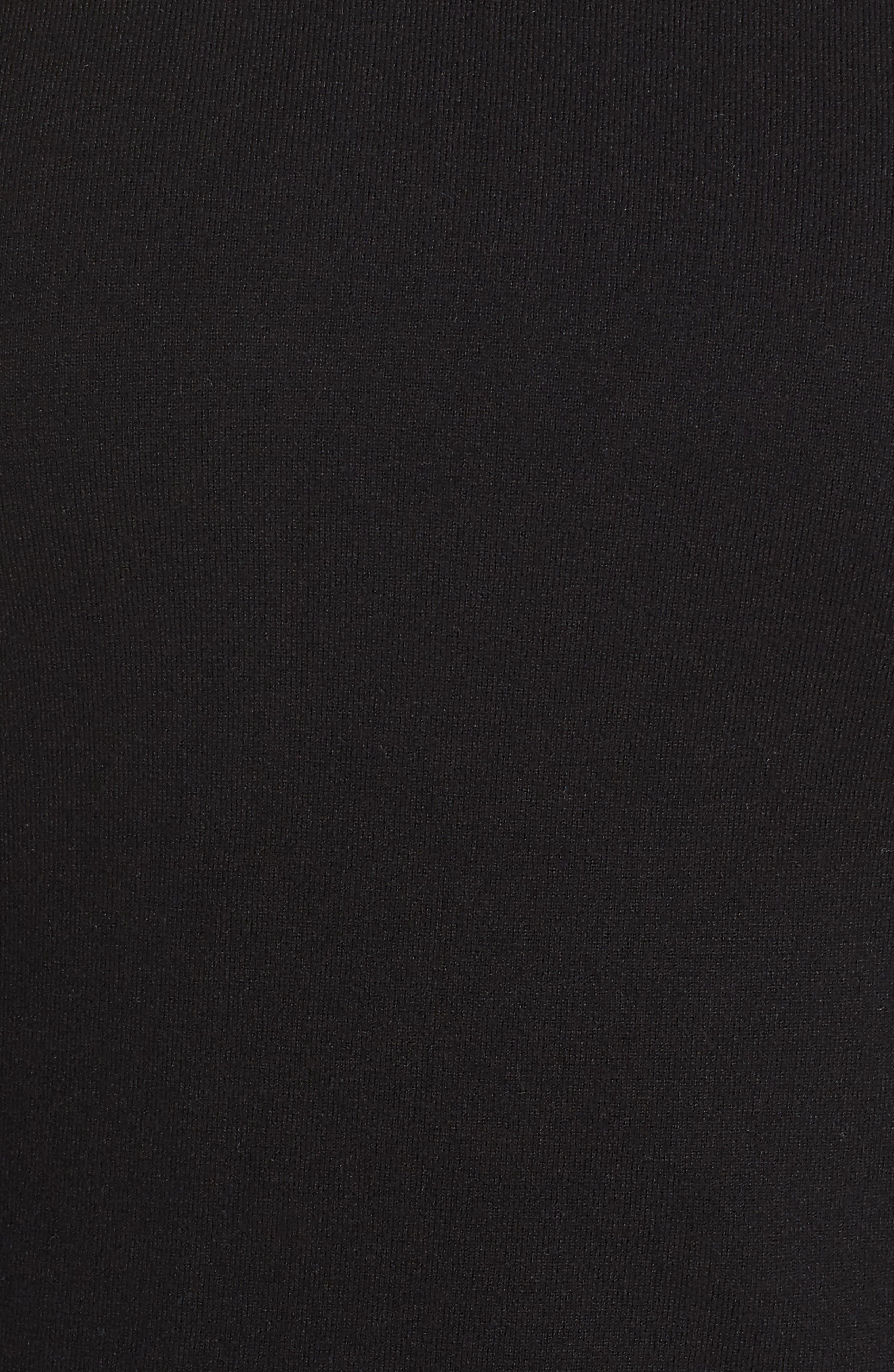 Puff Sleeve Long Hoodie,                             Alternate thumbnail 5, color,                             BLACK