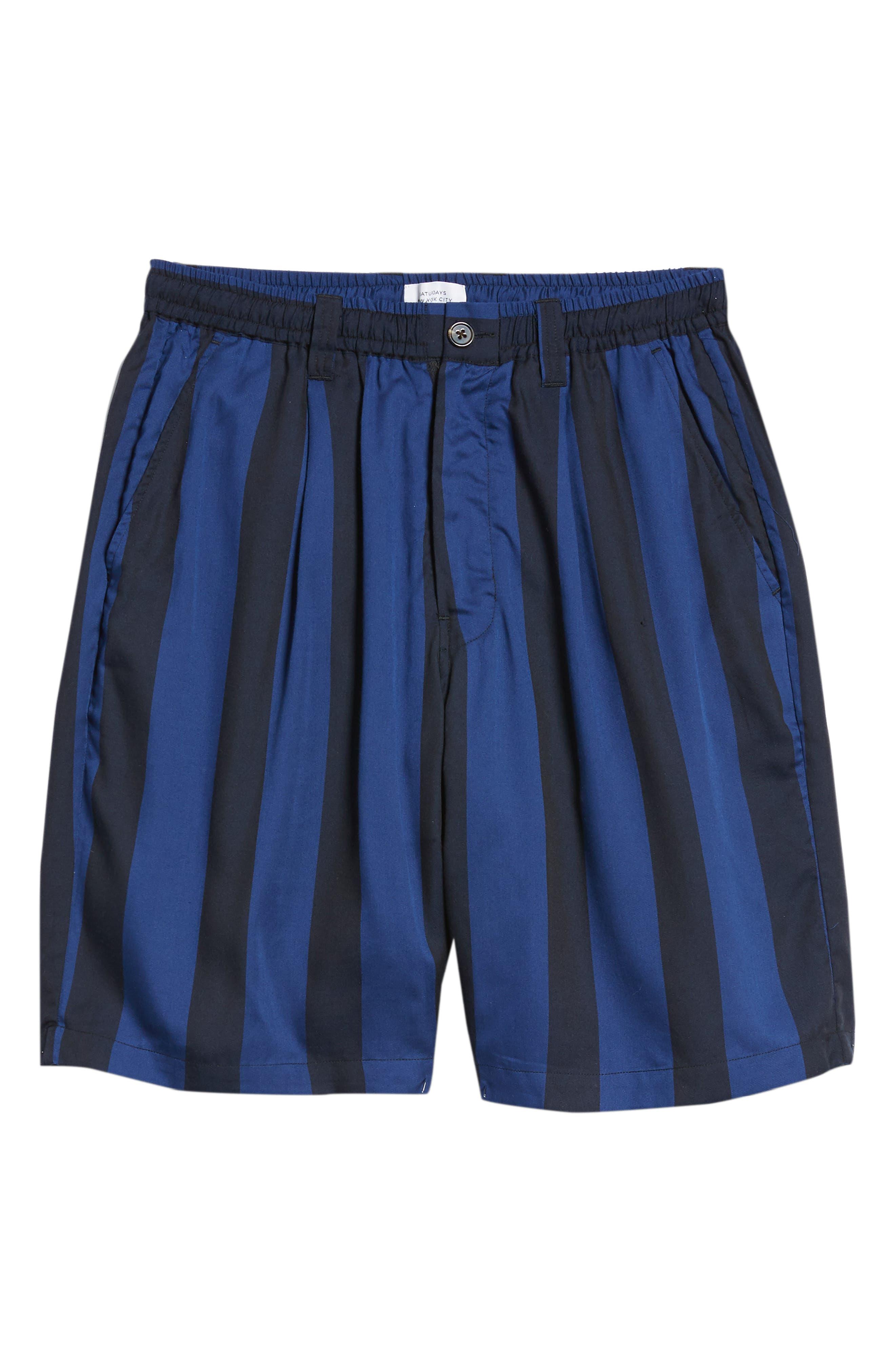 Keigo Broad Stripe Shorts,                             Alternate thumbnail 6, color,                             COBALT