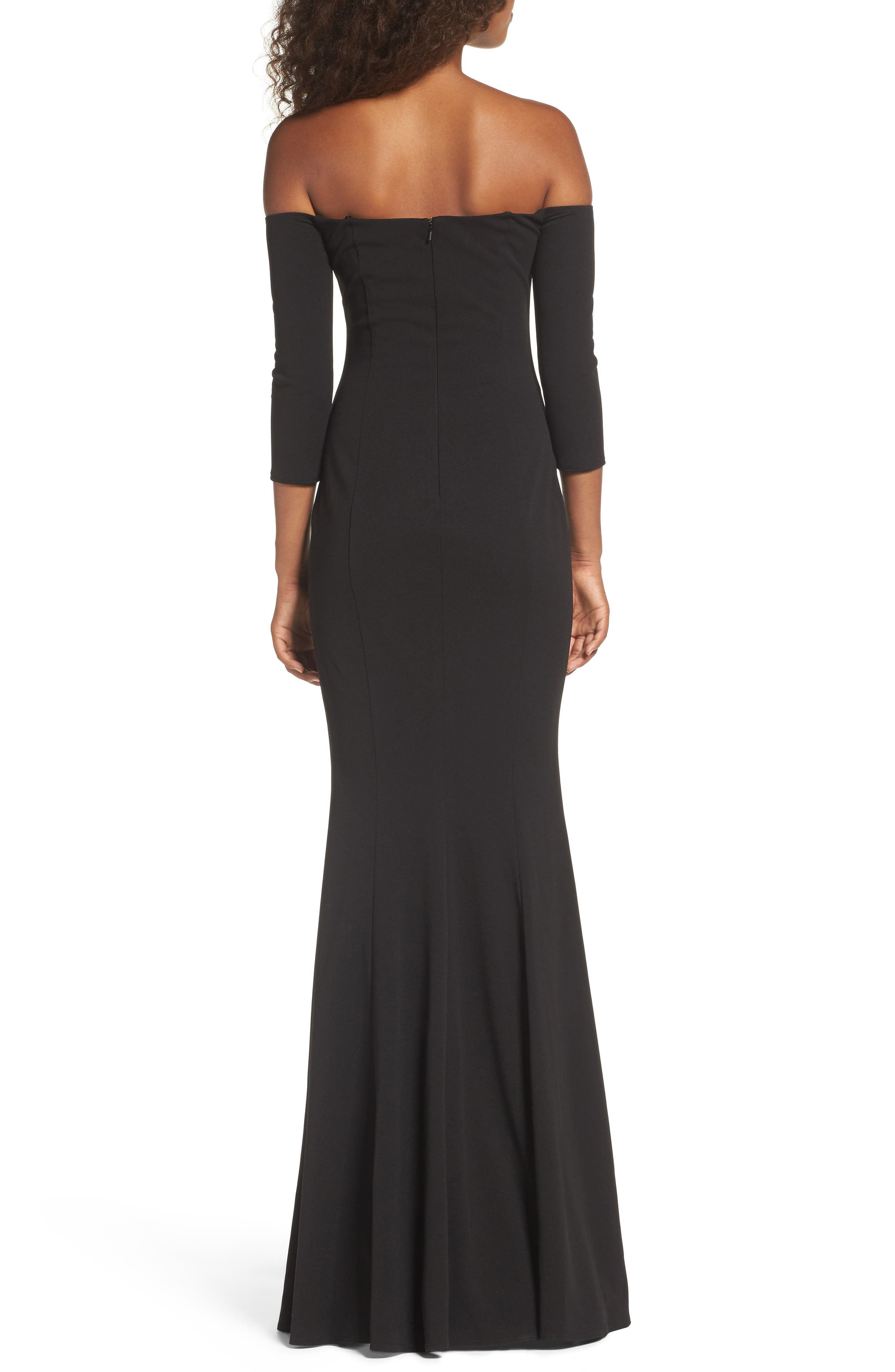 Brentwood Three-Quarter Sleeve Off the Shoulder Gown,                             Alternate thumbnail 2, color,                             BLACK