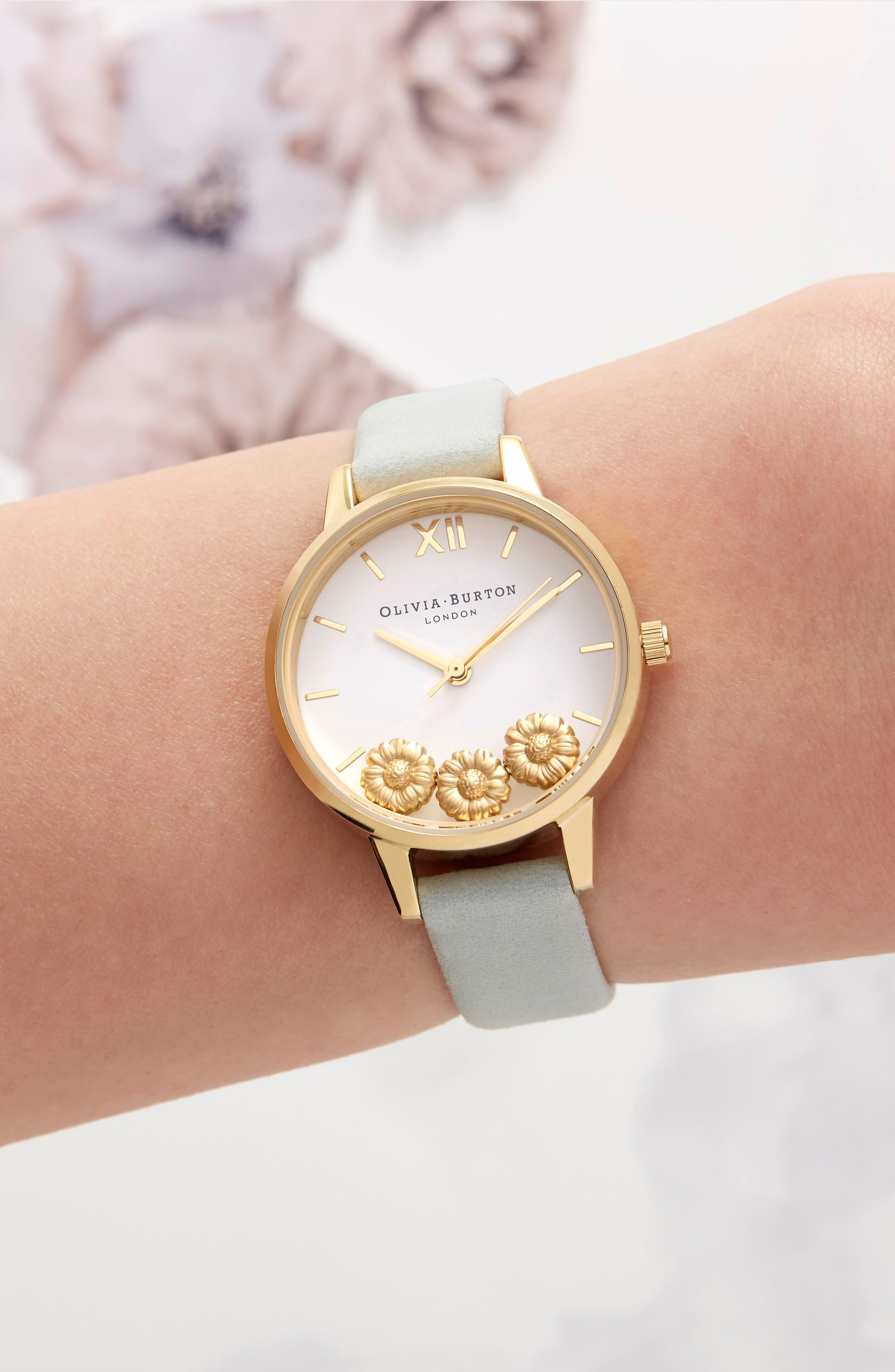 Dancing Daisy Leather Strap Watch, 30mm,                             Alternate thumbnail 7, color,                             SAGE/ WHITE/ GOLD
