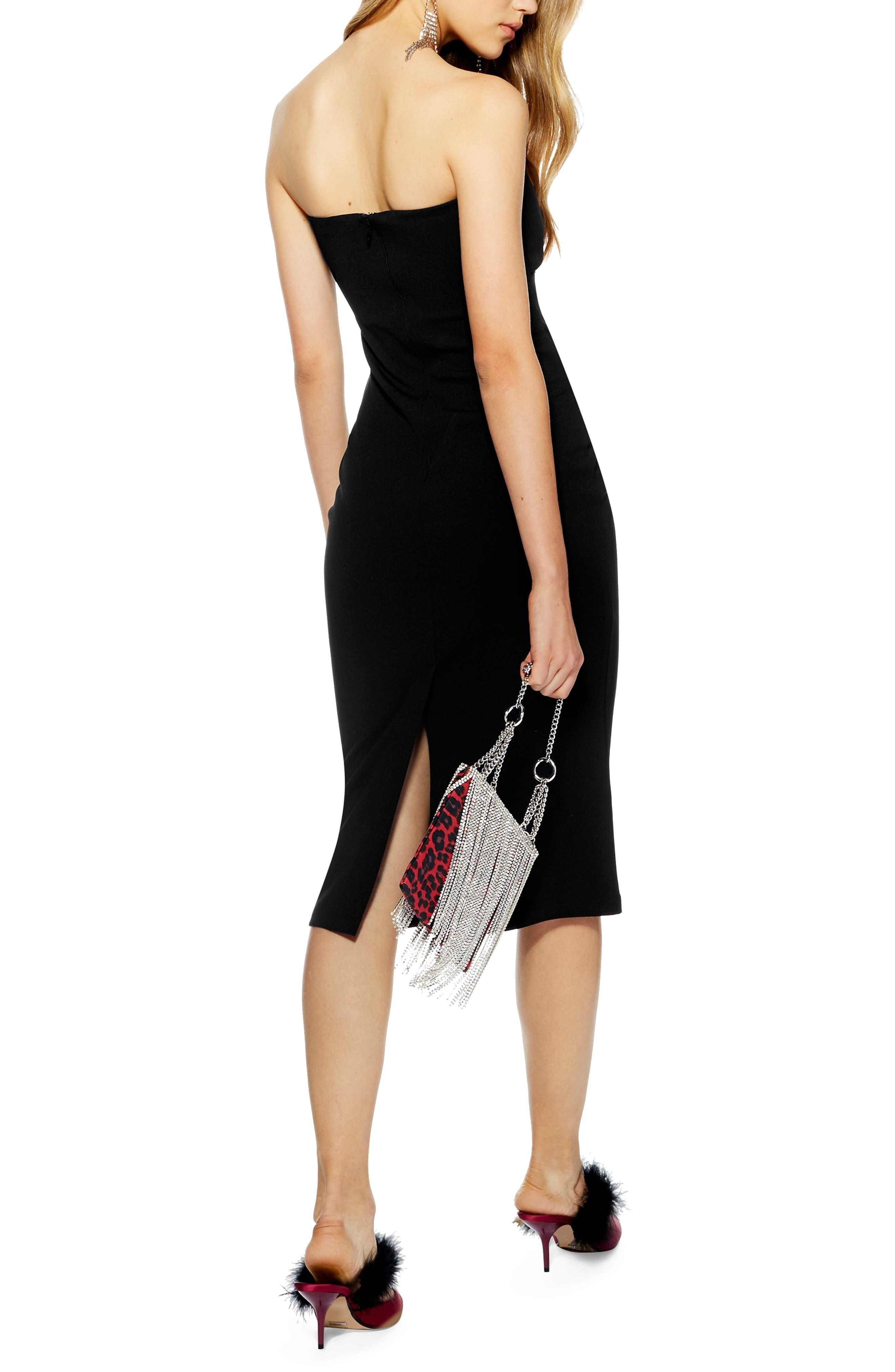 TOPSHOP,                             Twist Bow Sheath Dress,                             Alternate thumbnail 2, color,                             BLACK