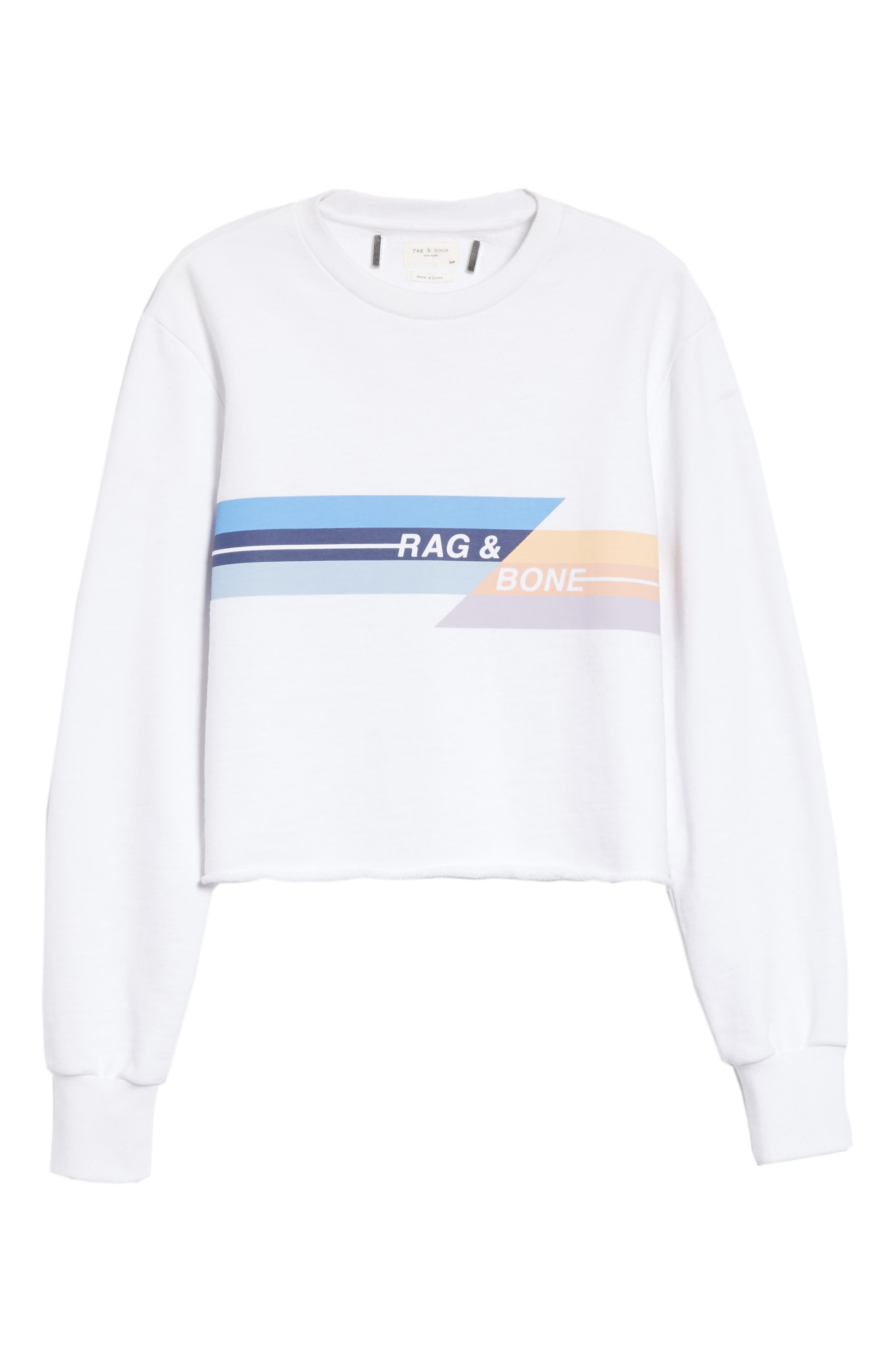 JEAN Glitch Crop Sweatshirt,                             Alternate thumbnail 6, color,                             100