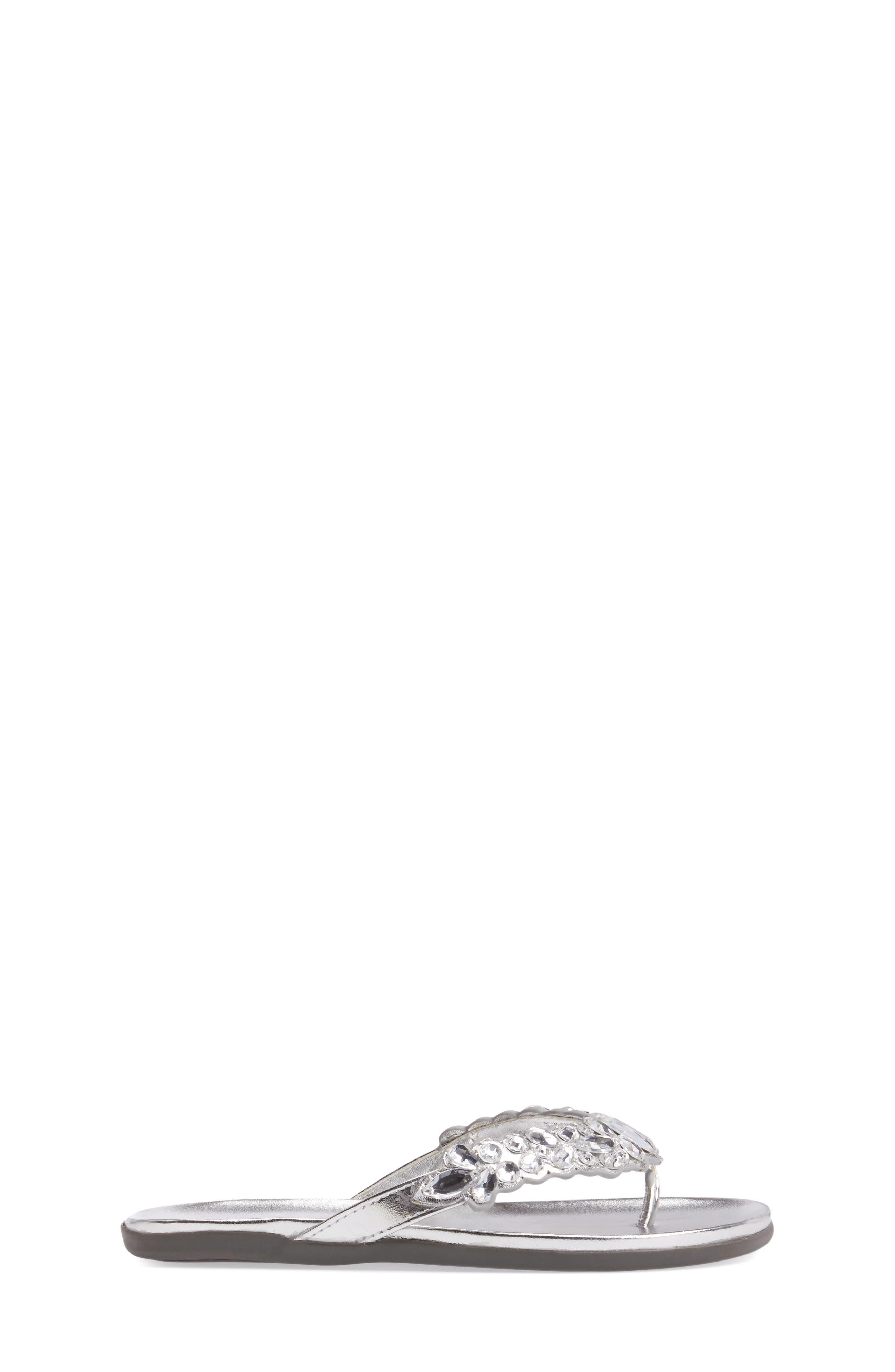Slim Shadee Embellished Flip Flop,                             Alternate thumbnail 3, color,                             040
