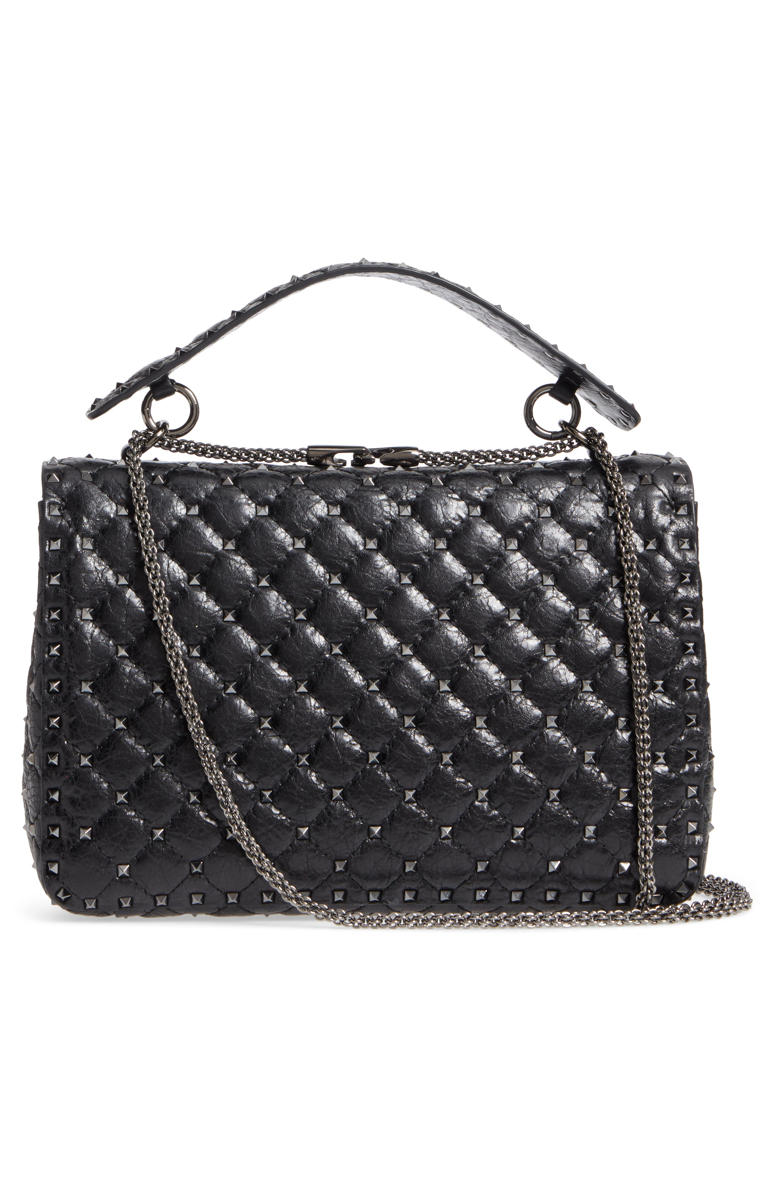 Vitello Rockstud Lambskin Leather Shoulder Bag,                             Alternate thumbnail 3, color,                             NERO