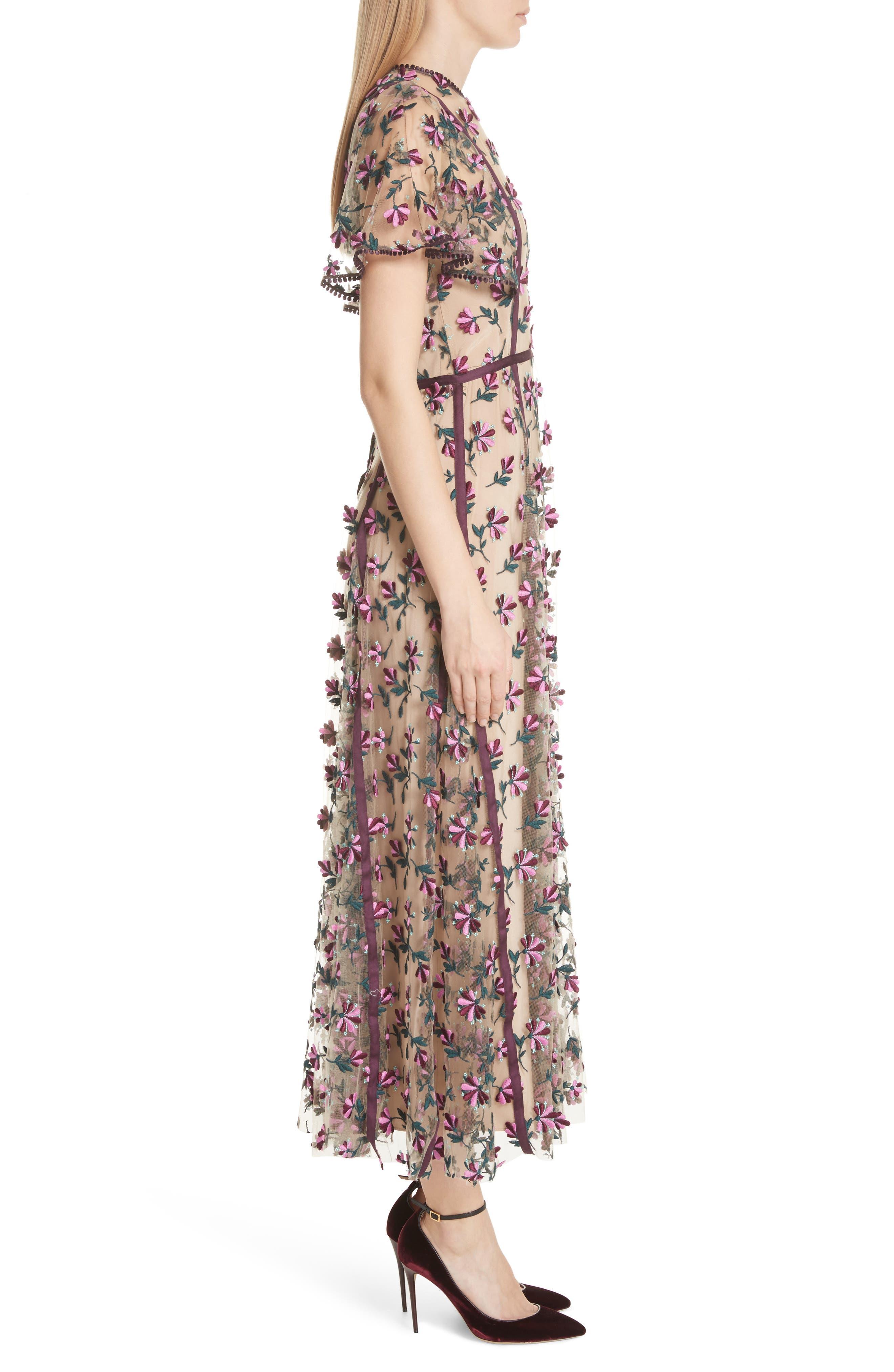 Embroidered Flutter Sleeve Midi Dress,                             Alternate thumbnail 3, color,                             537