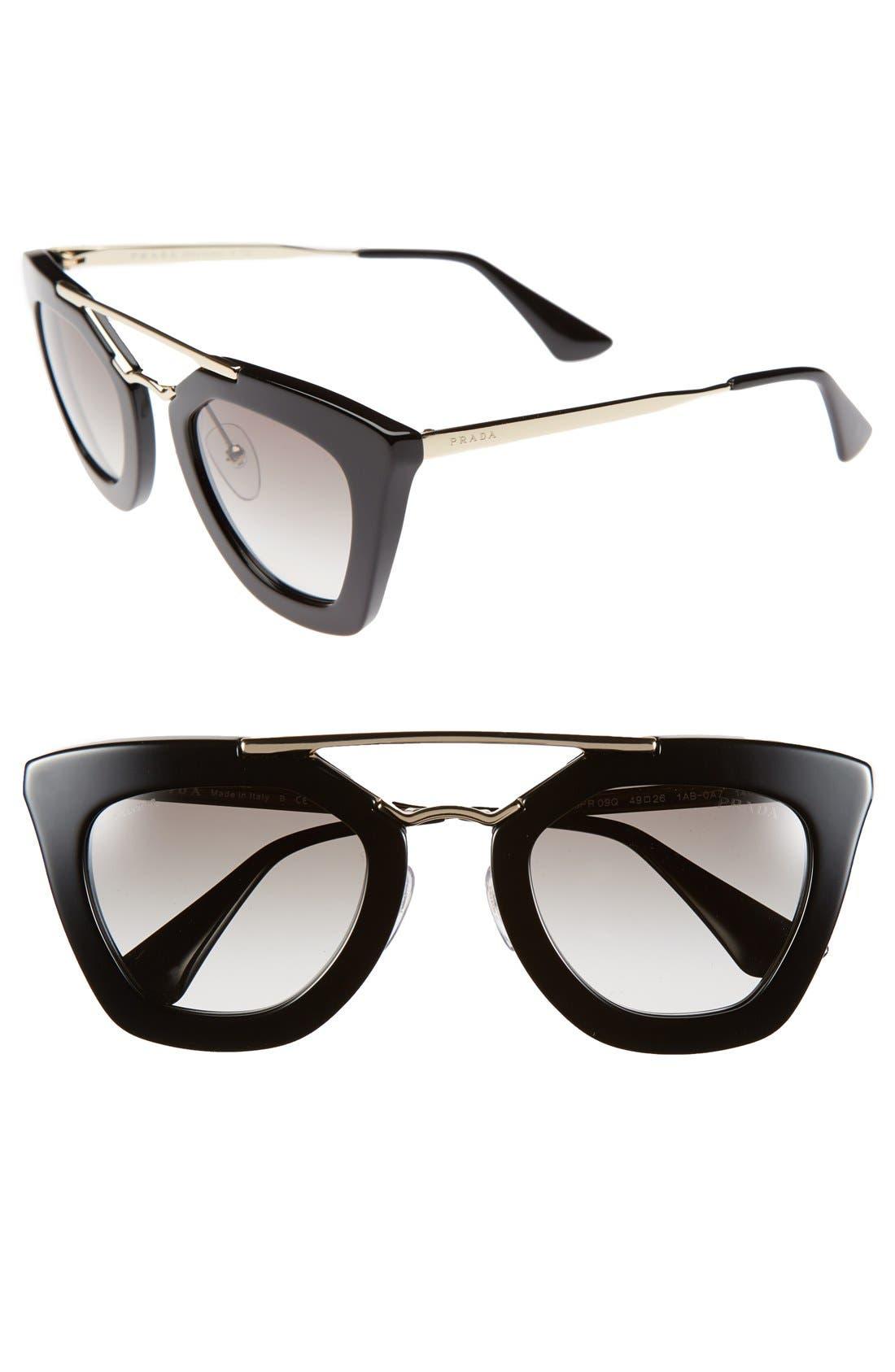 PRADA 49mm Retro Sunglasses, Main, color, 001
