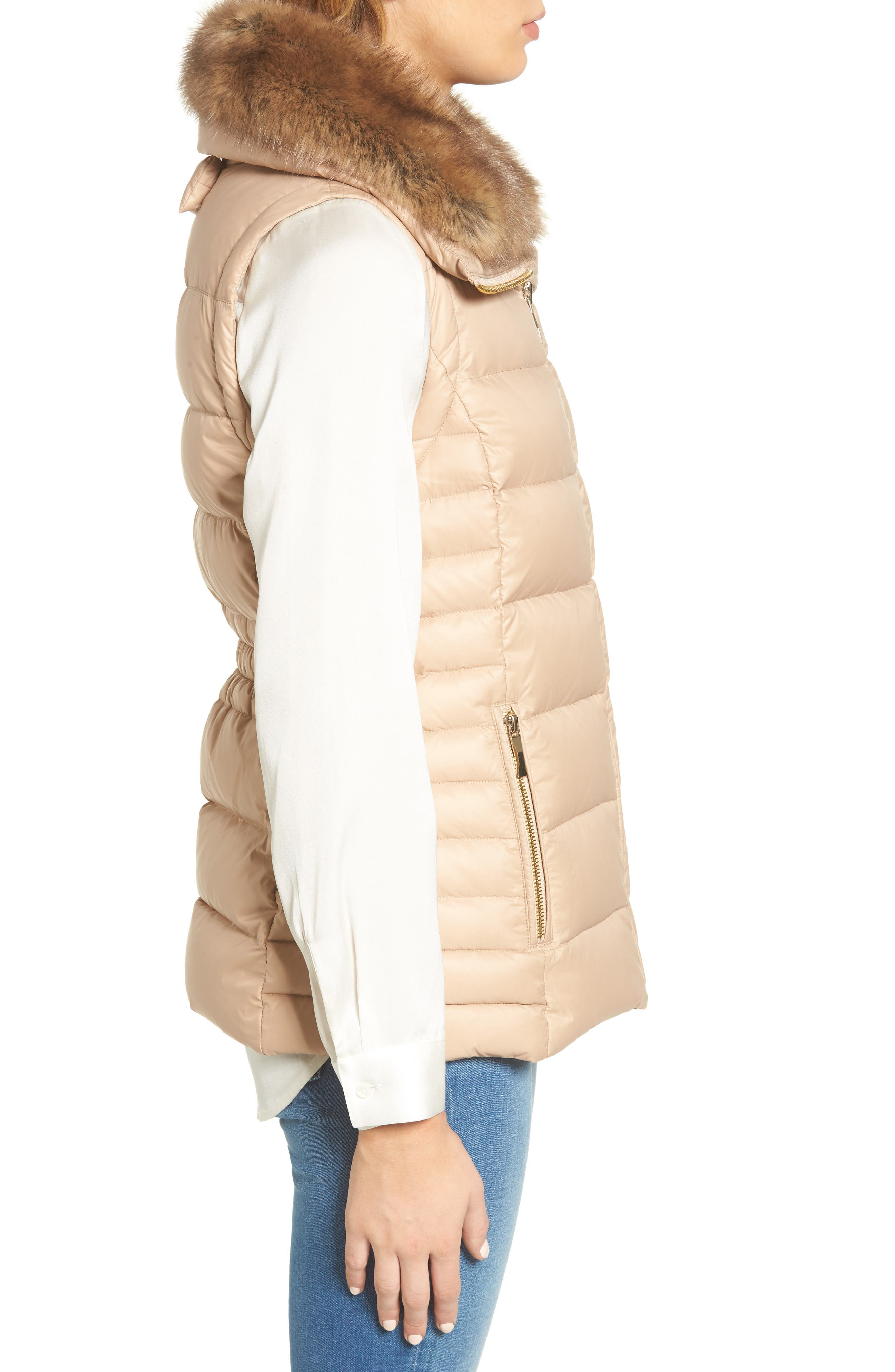 quilted puffer down vest with faux fur trim,                             Alternate thumbnail 8, color,