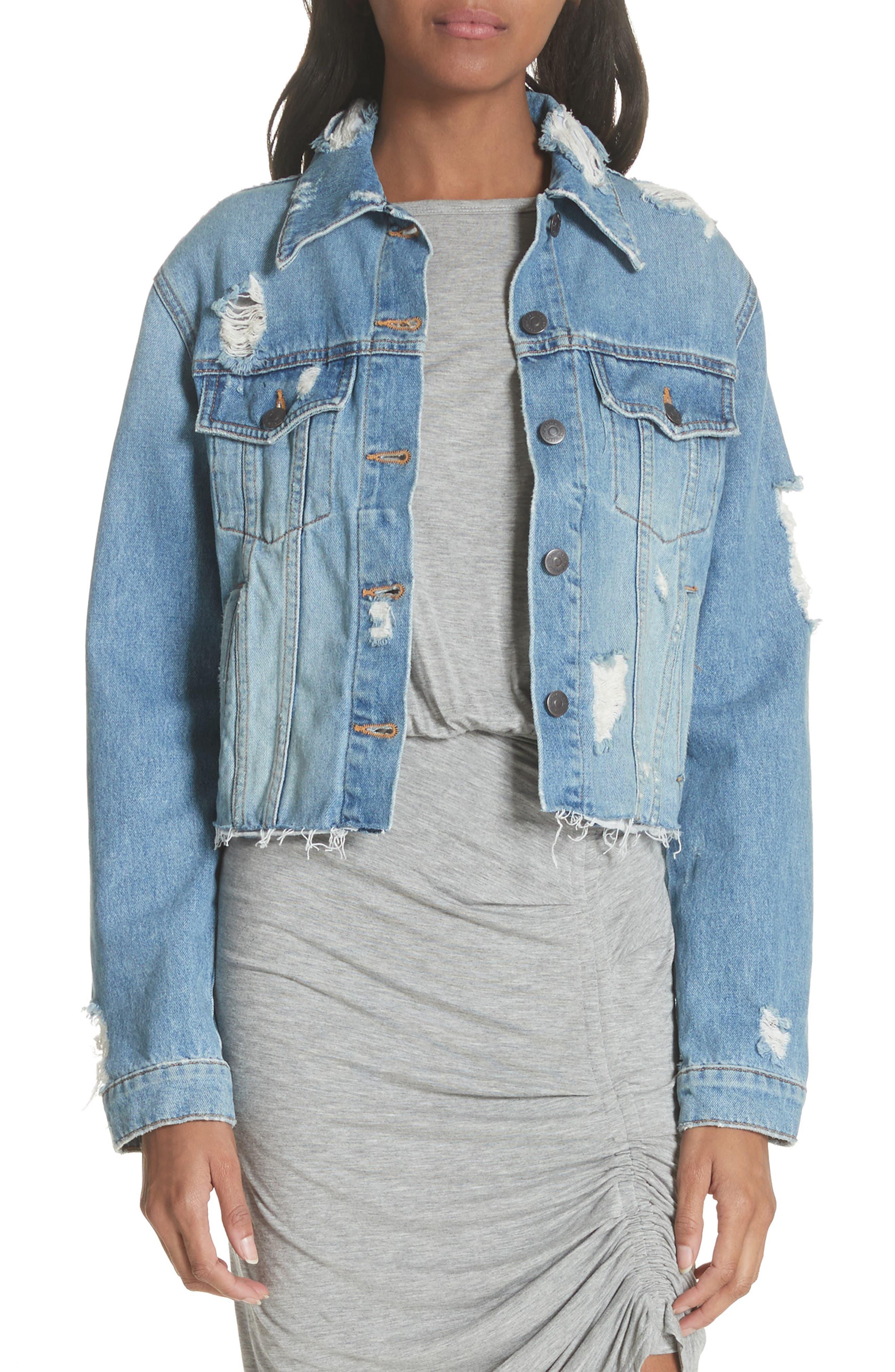 Cara Distressed Floral Denim Cutoff Jacket in Distressed Denim