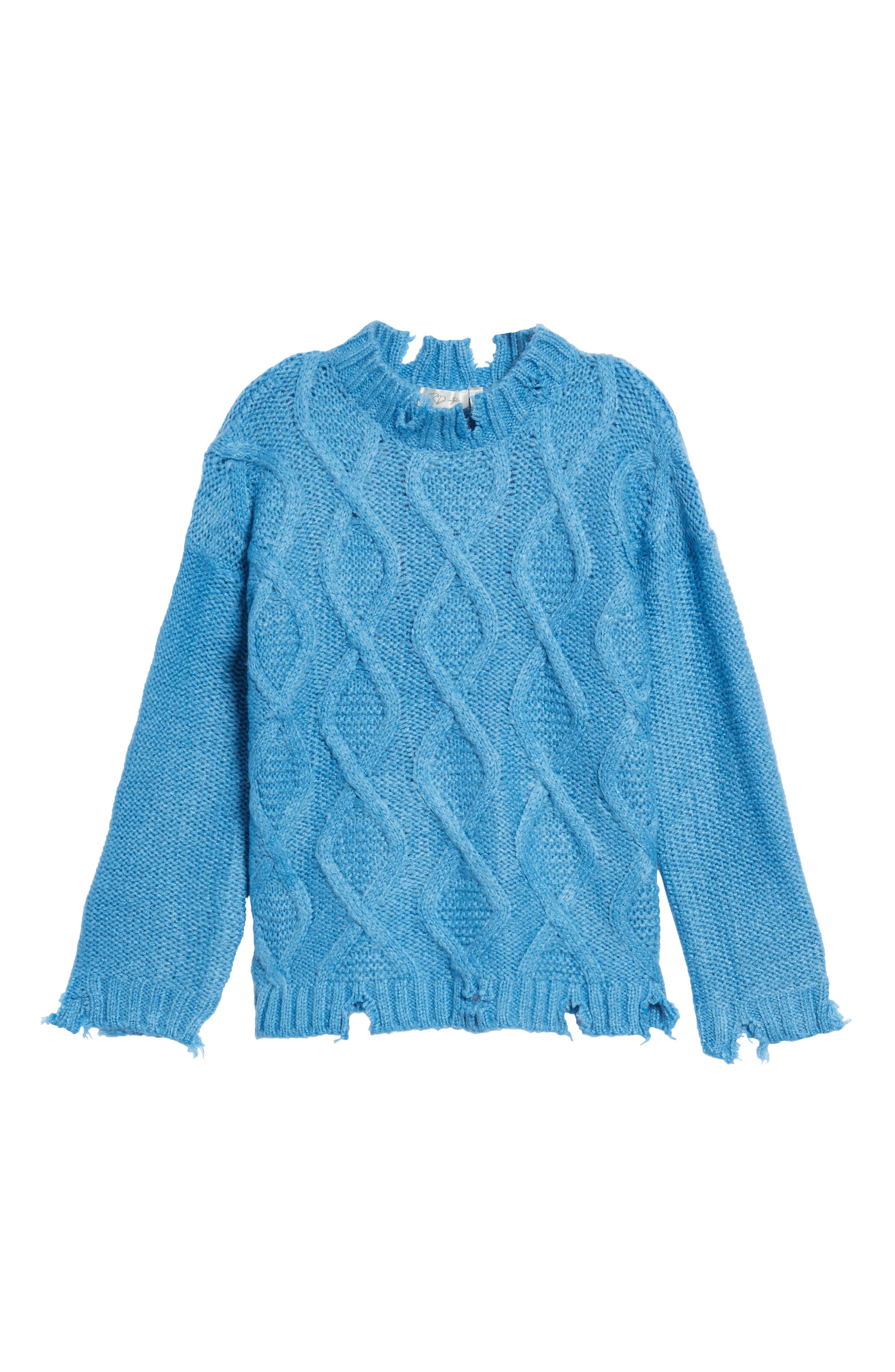 RDI,                             Destroyed Cable Knit Sweater,                             Alternate thumbnail 6, color,                             440