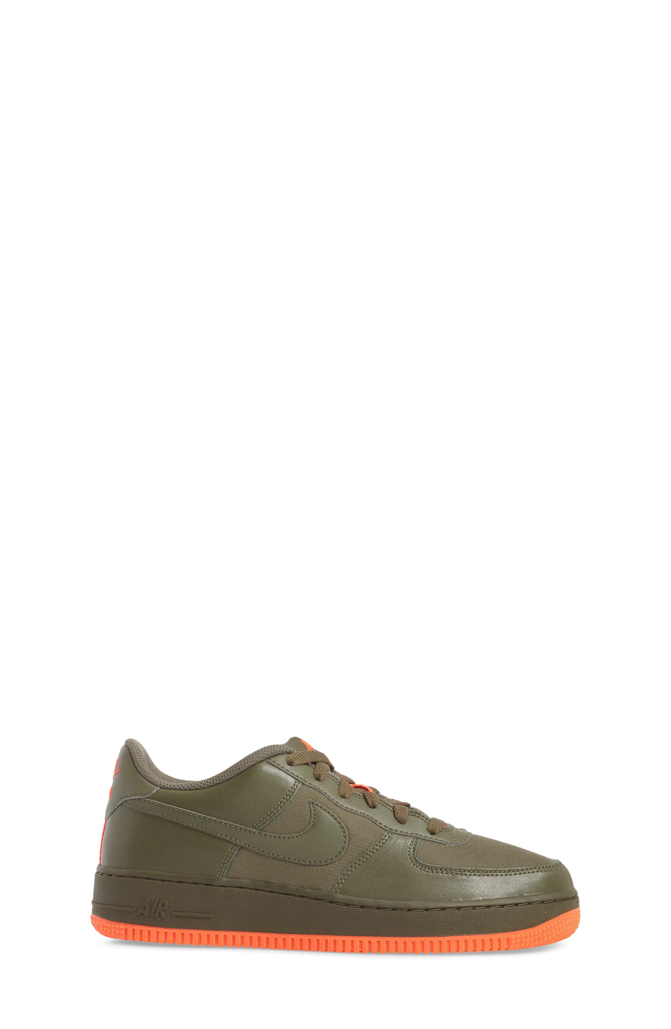 Air Force 1 LV8 Sneaker,                             Alternate thumbnail 3, color,                             MEDIUM OLIVE/ TOTAL CRIMSON