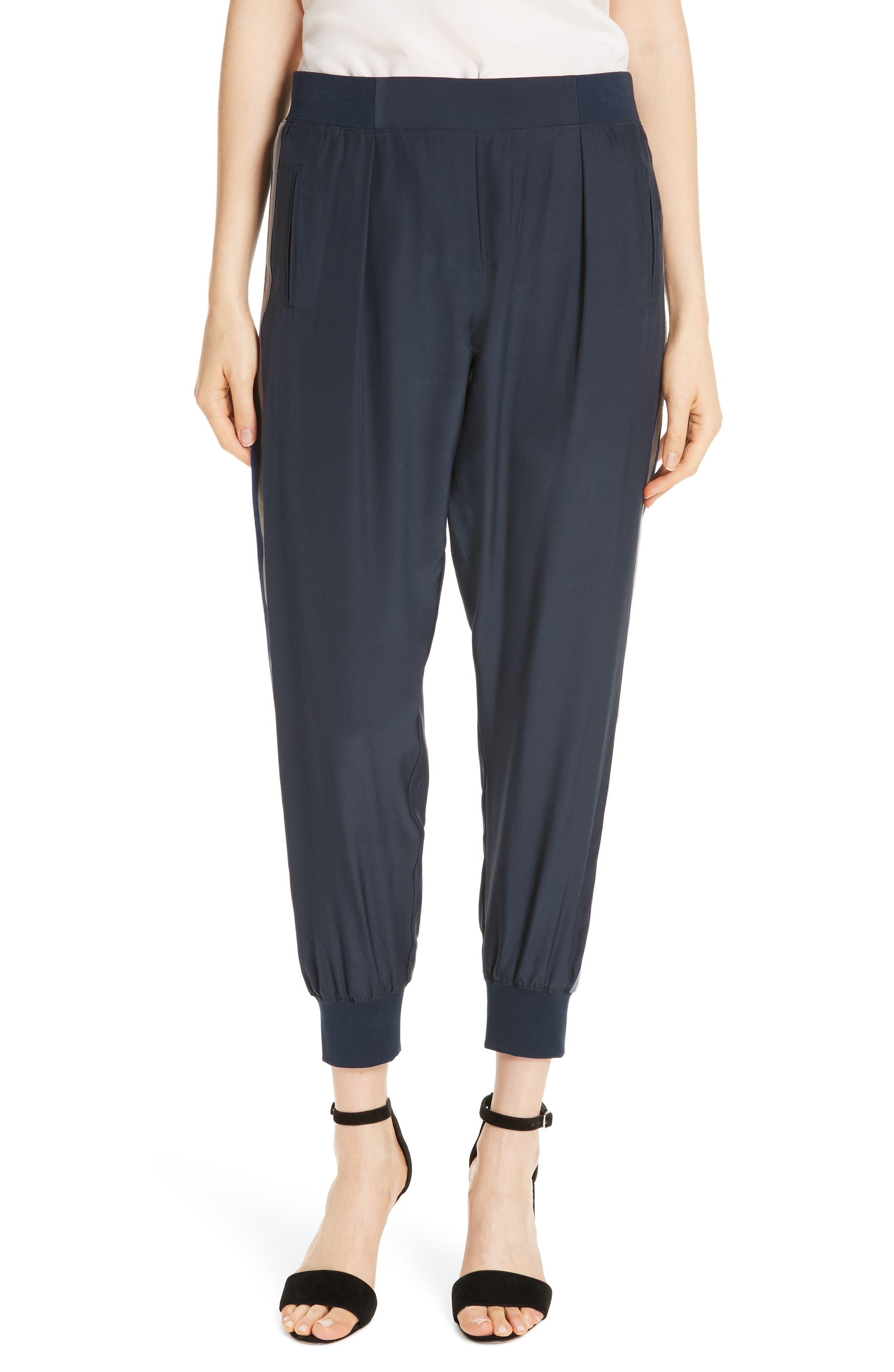 Striped Silk Satin Jogger Pants - Blue Size M