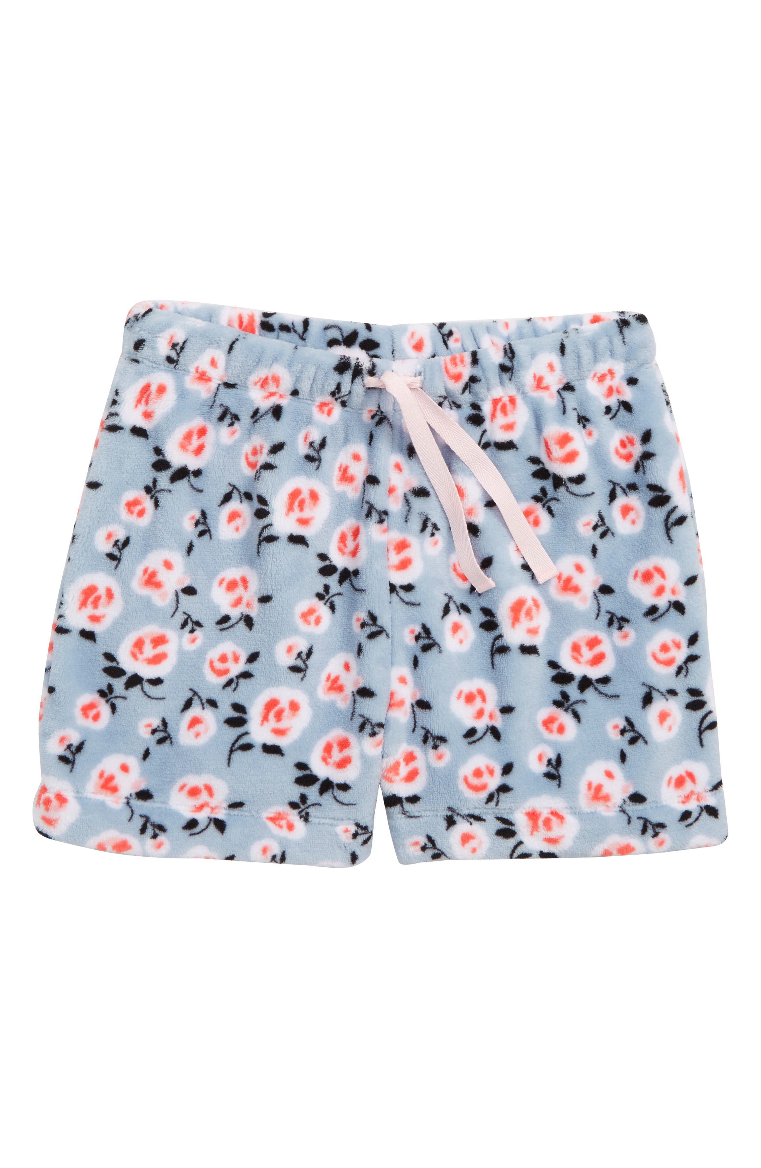 Fleece Sleep Shorts,                             Main thumbnail 1, color,                             BLUE CELESTIAL LOVELY FLOWER