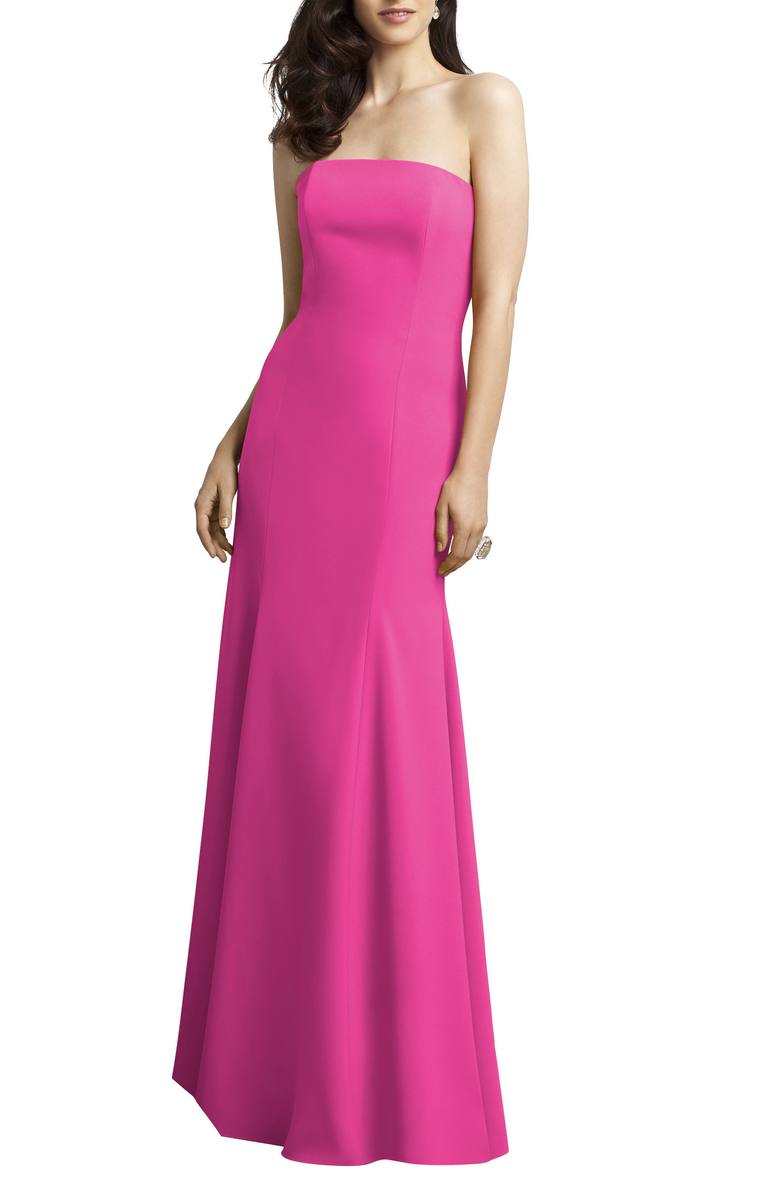 Strapless Crepe Trumpet Gown,                             Alternate thumbnail 6, color,