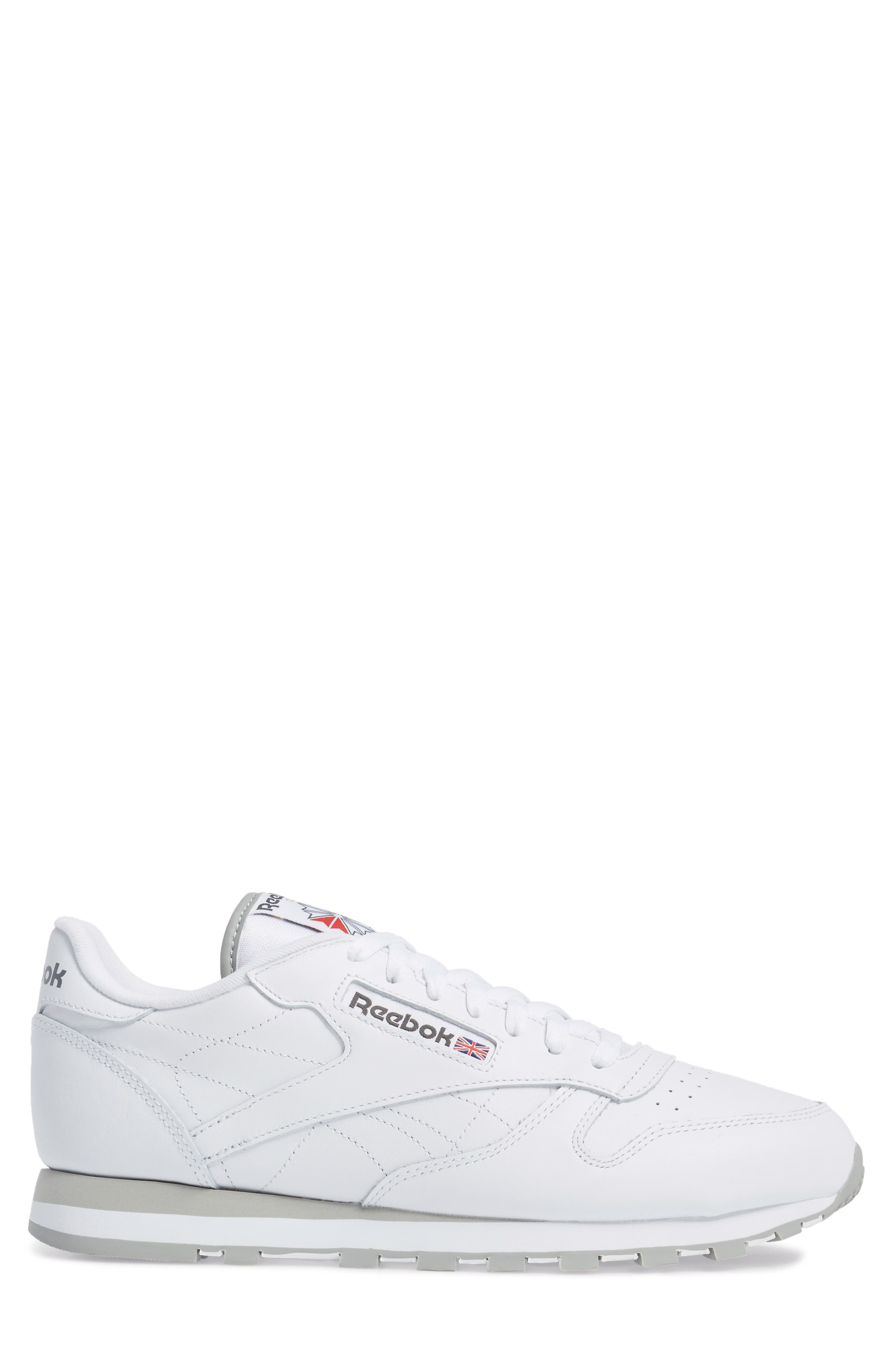 Classic Leather Sneaker,                             Alternate thumbnail 3, color,                             WHITE