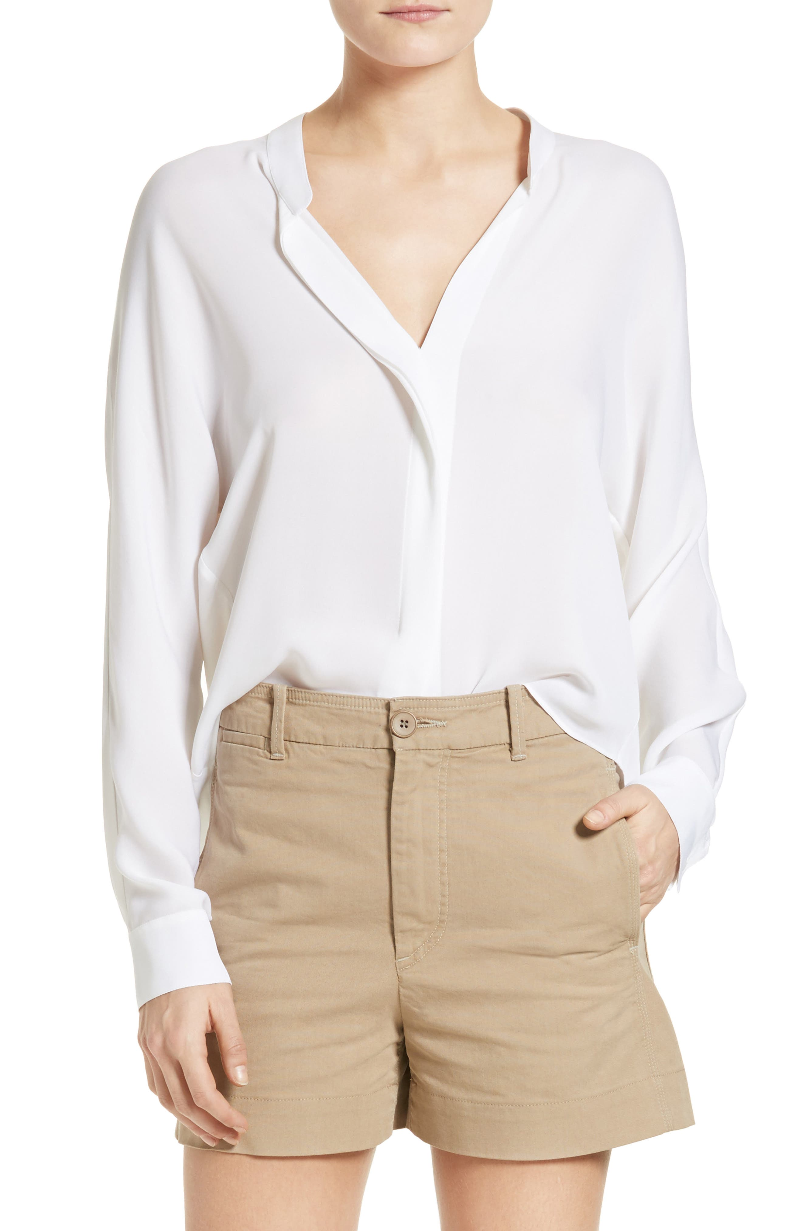 VINCE Sheer Silk Blouse, Main, color, 100
