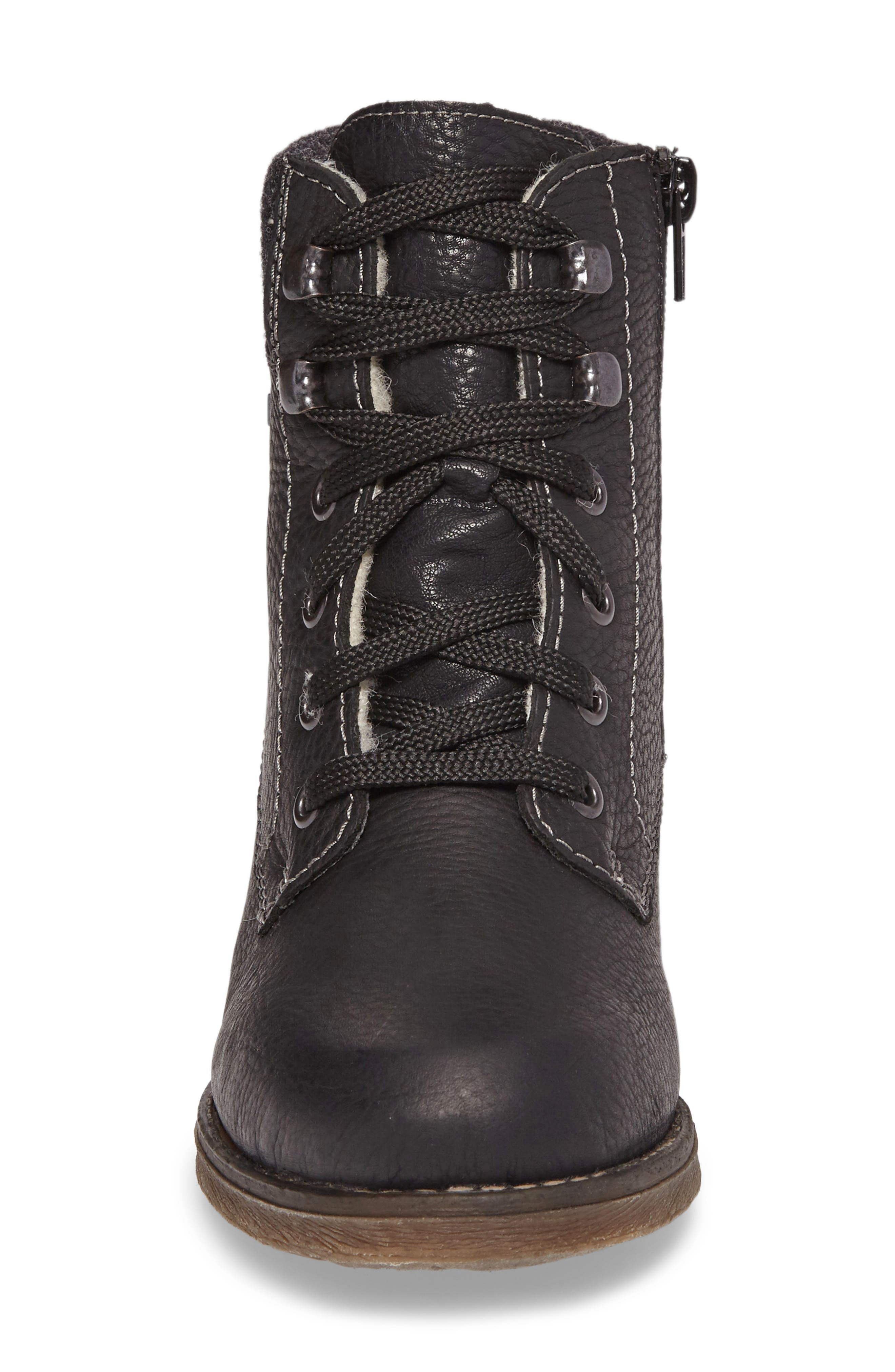Fee 02 Lace-Up Boot,                             Alternate thumbnail 4, color,                             SCHWARZ ANTRACHITE LEATHER