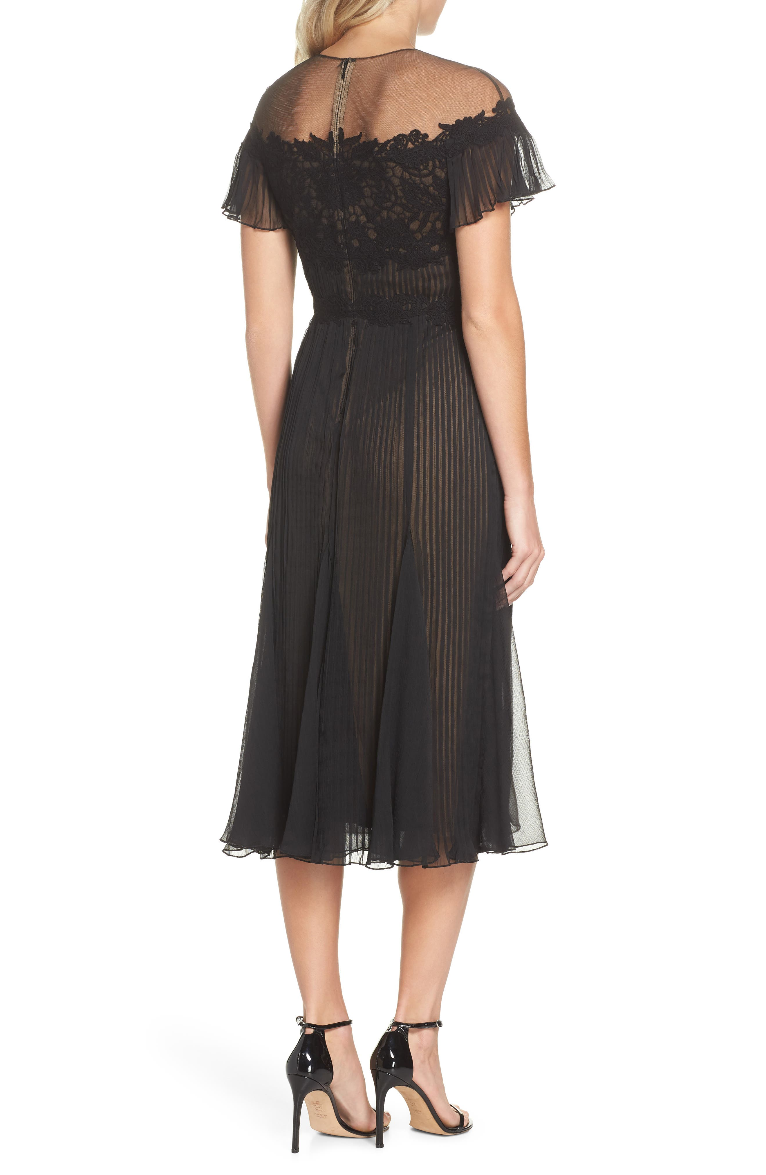 TADASHI SHOJI,                             Lace & Chiffon A-Line Dress,                             Alternate thumbnail 2, color,                             BLACK/ NUDE