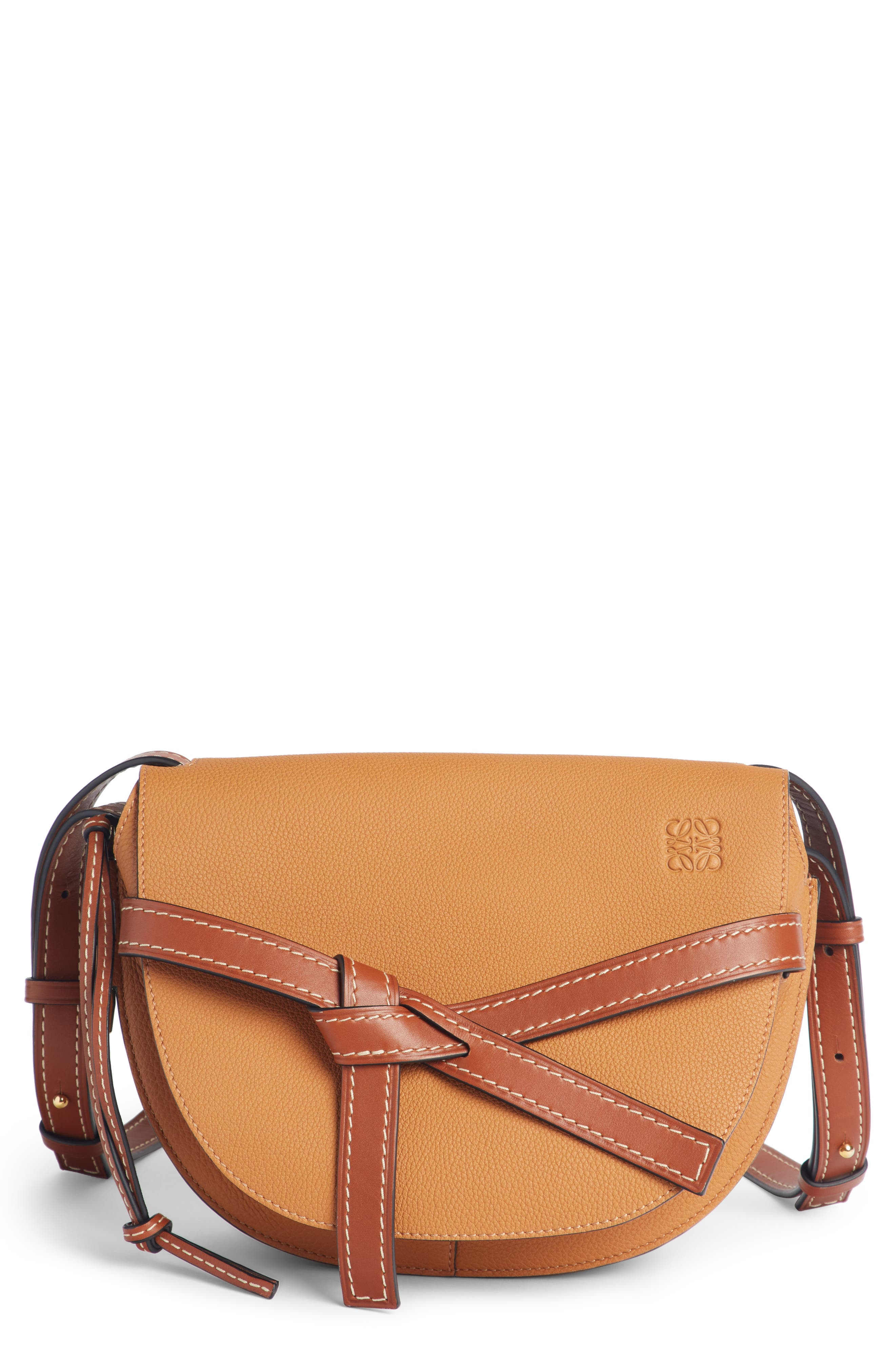 Small Gate Leather Crossbody Bag,                         Main,                         color, LIGHT CARAMEL/ PECAN