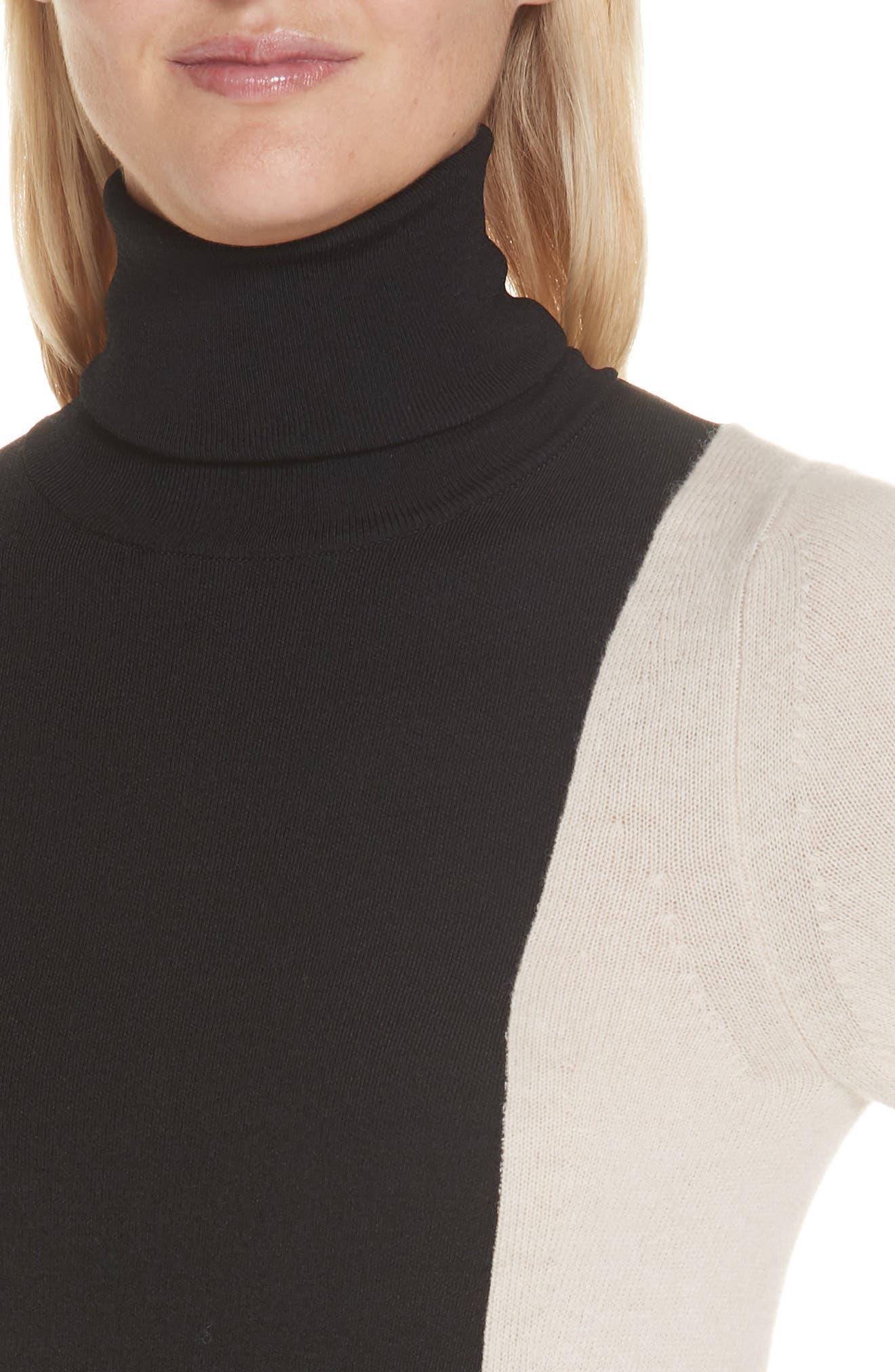 Colorblock Wool Blend Turtleneck Sweater,                             Alternate thumbnail 4, color,                             BLACK/ NUT
