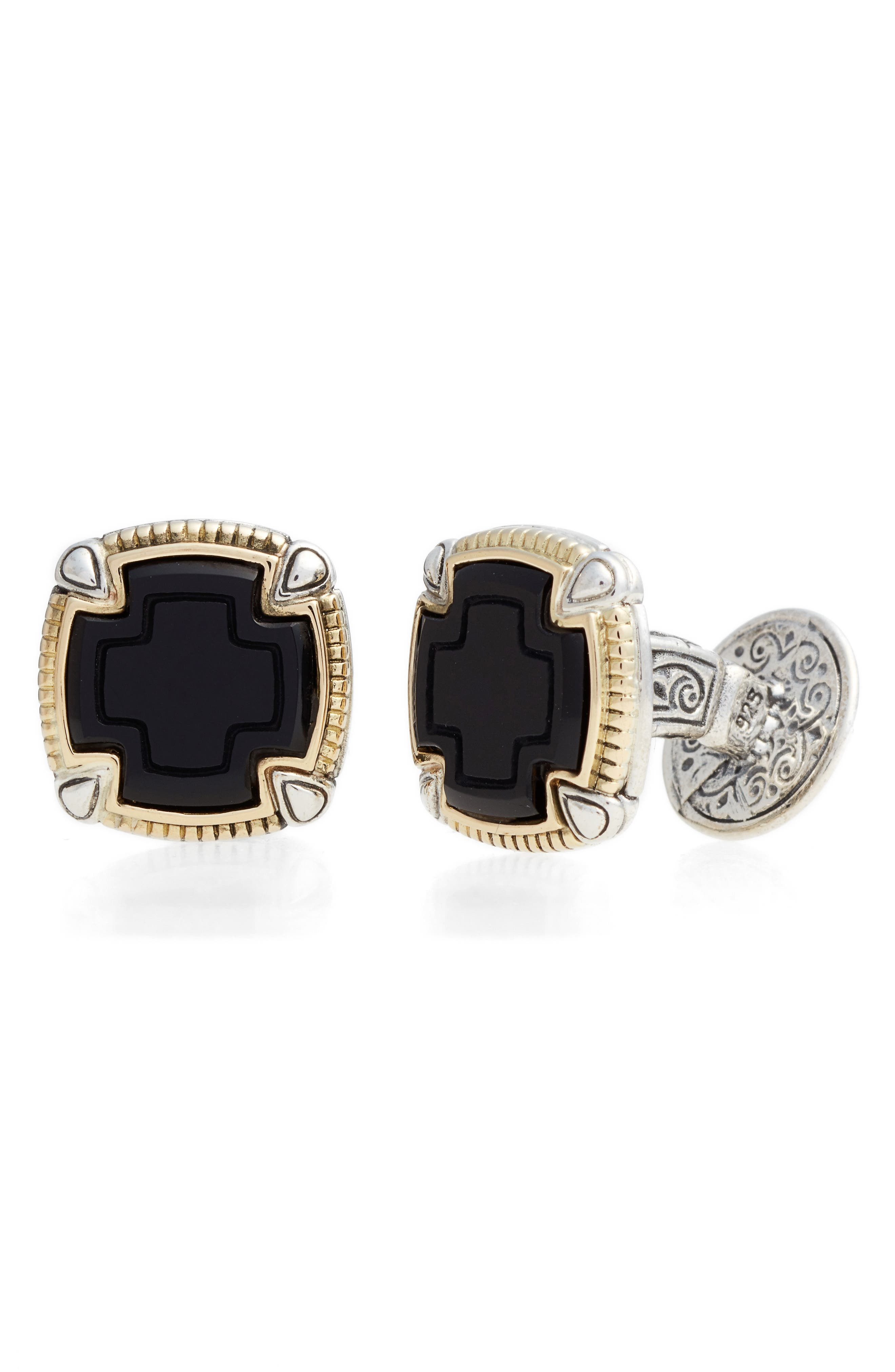 Ares Square Cuff Links,                             Main thumbnail 1, color,                             SILVER/ GOLD/ ONYX