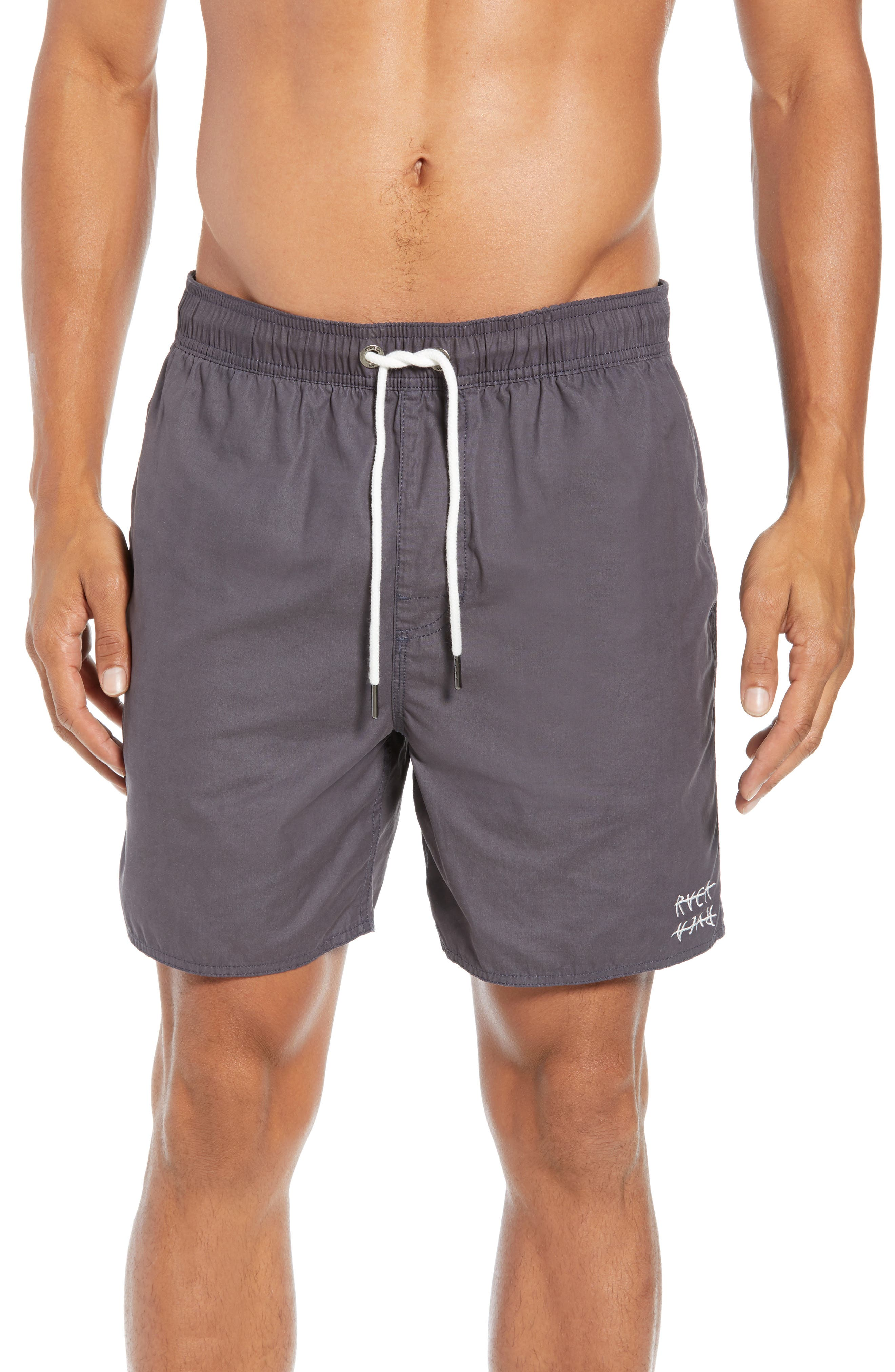 Horton Swim Trunks,                         Main,                         color, OIL GREY