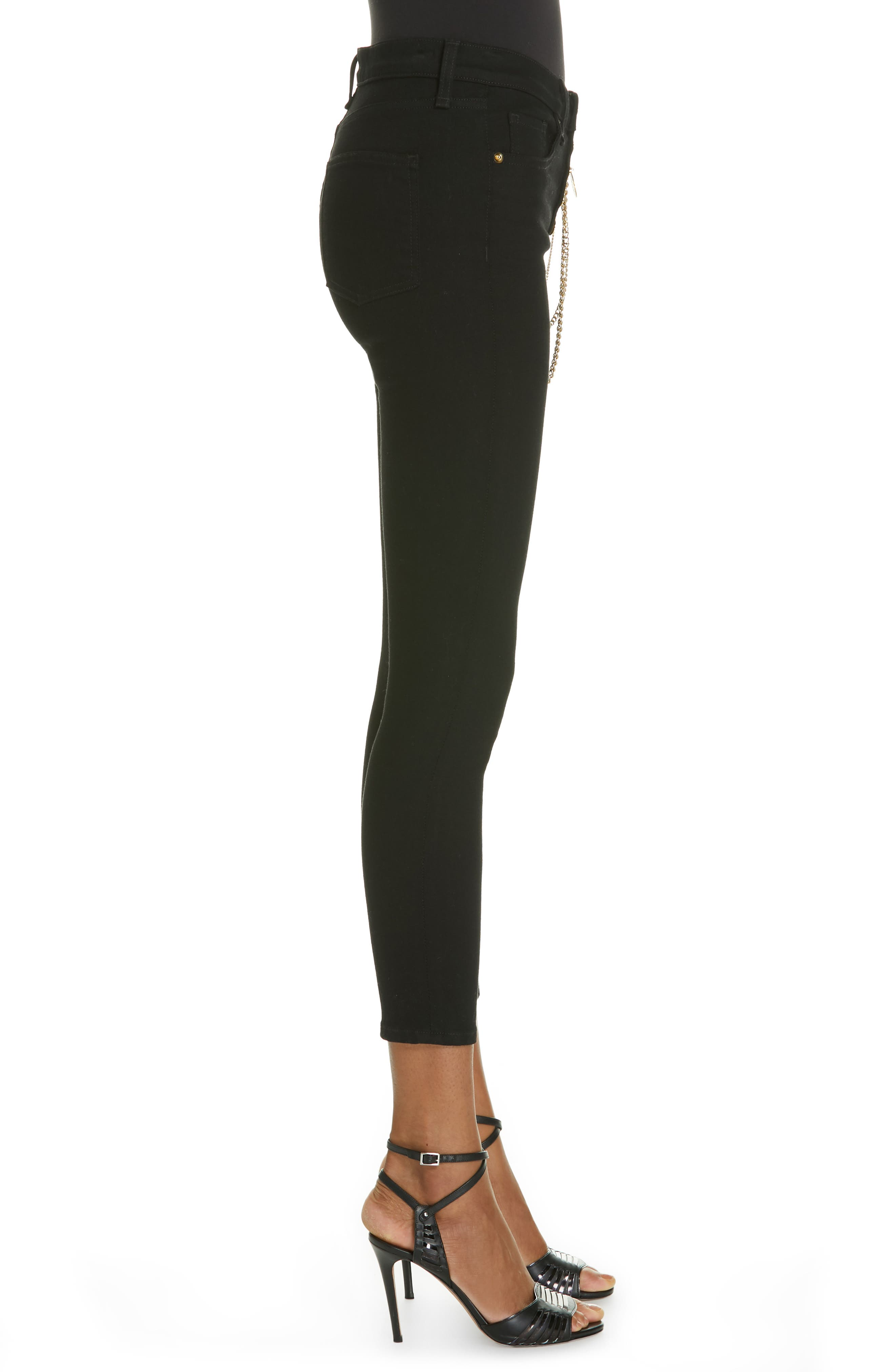 Debbie 10 Chain Belt High Waist Skinny Jeans,                             Alternate thumbnail 3, color,                             RAVEN