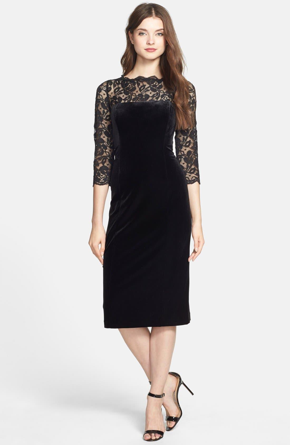 Lace & Velvet Sheath Dress,                             Main thumbnail 1, color,                             BLACK