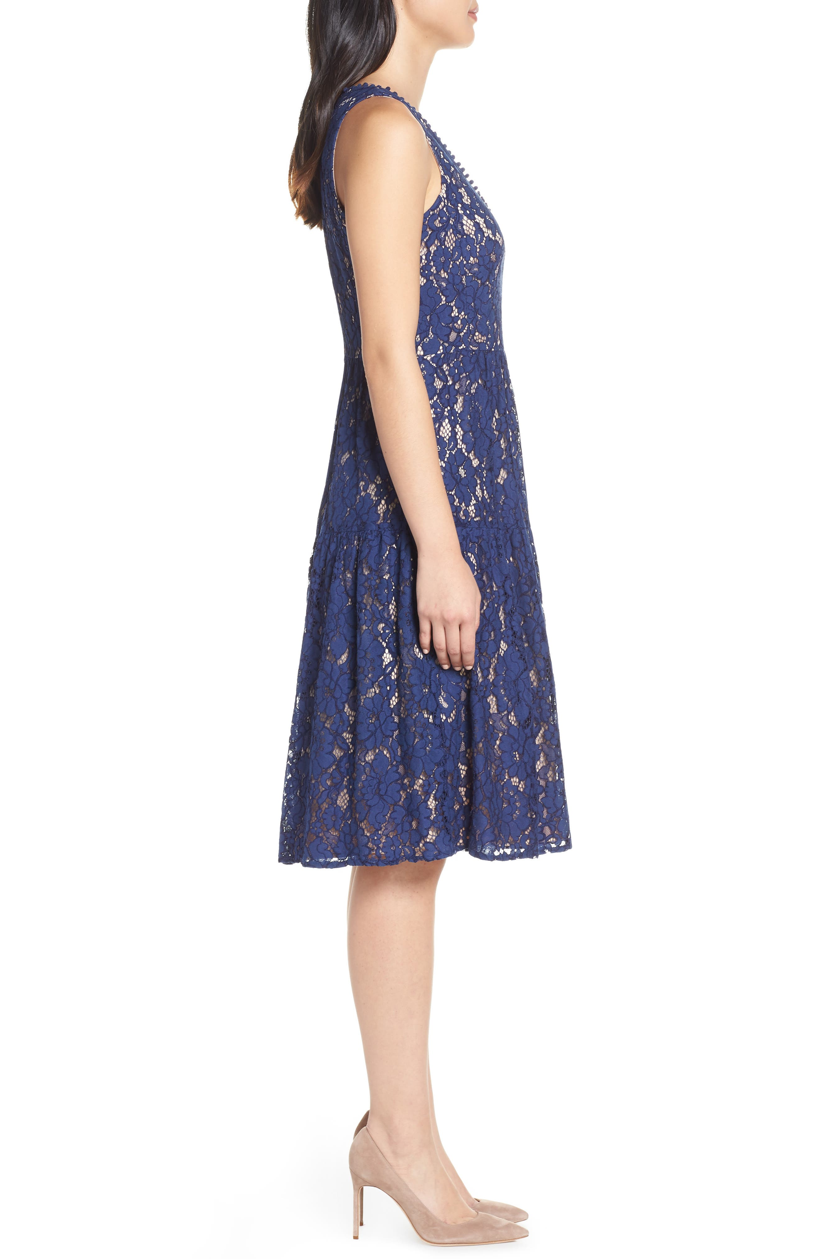 Lace Fit & Flare Dress,                             Alternate thumbnail 3, color,                             NAVY