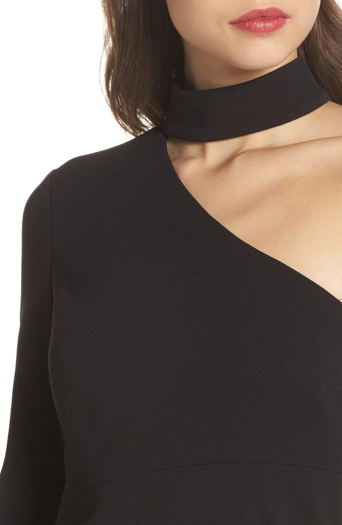 Choker One-Shoulder Dress,                             Alternate thumbnail 4, color,                             001