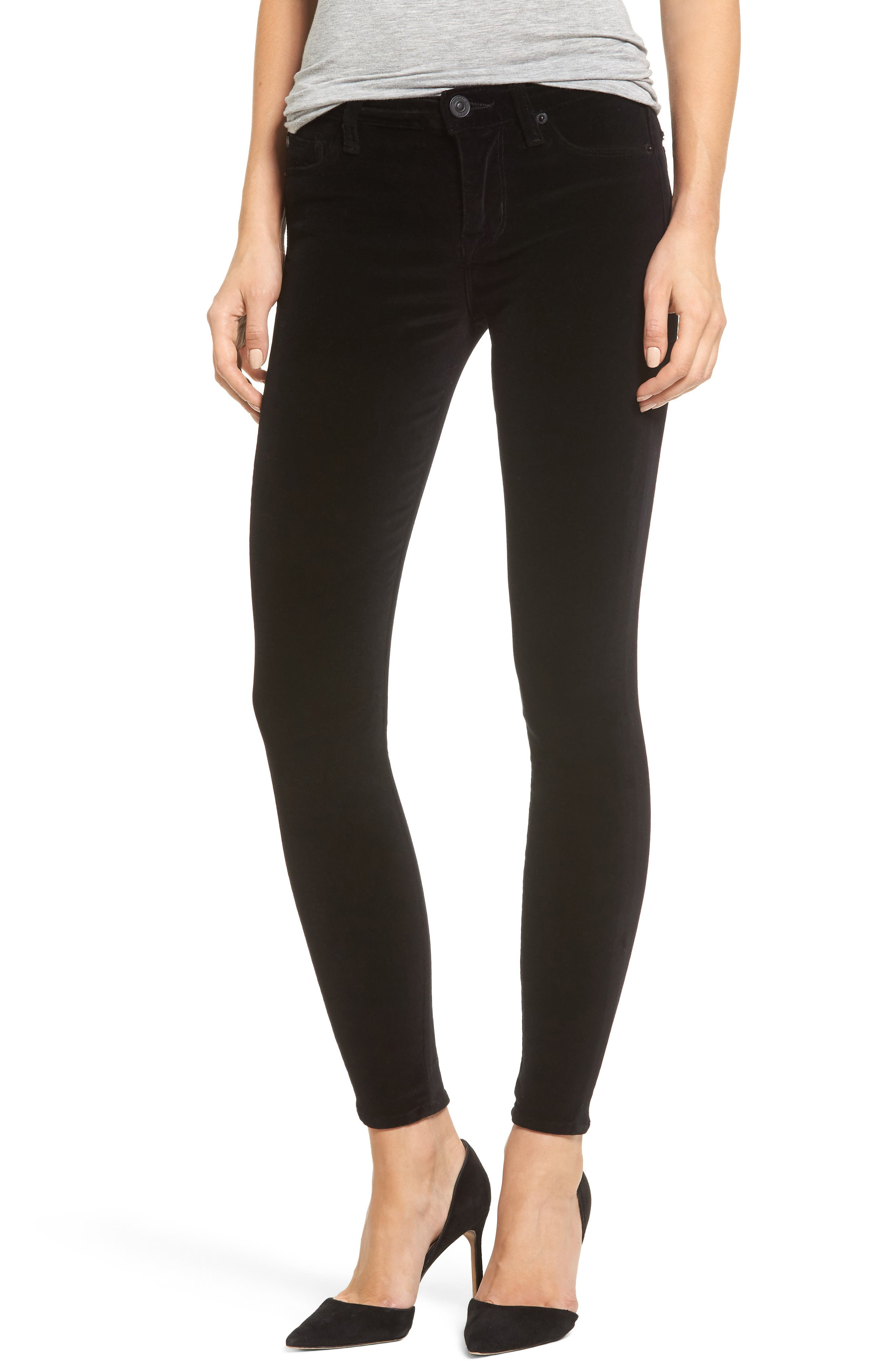 Barbara High Waist Ankle Super Skinny Jeans,                         Main,                         color, 001