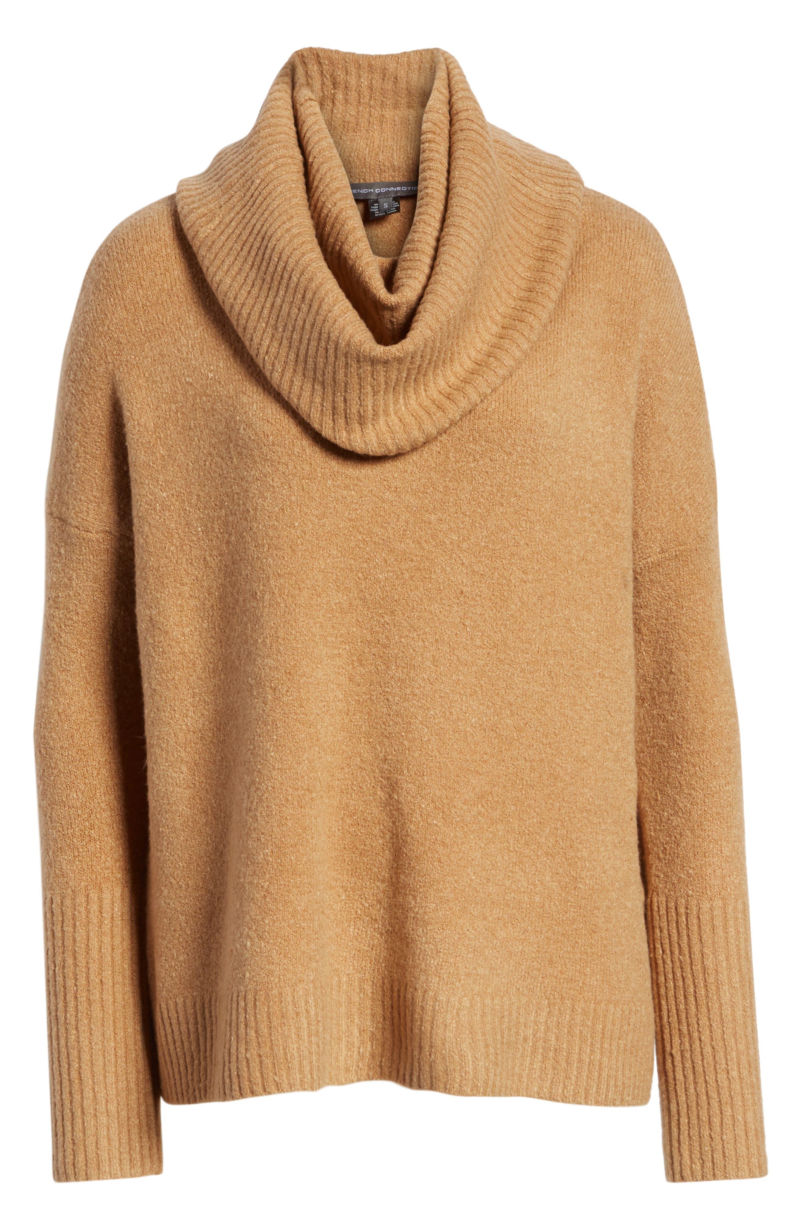 Cowl Neck Sweater,                             Alternate thumbnail 6, color,                             CAMEL MEL