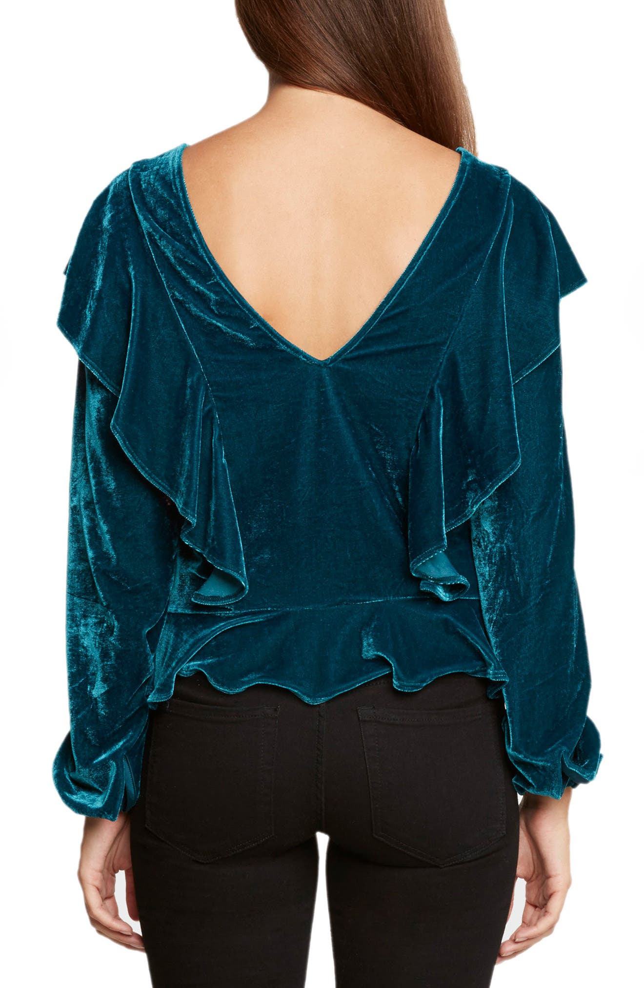 Ruffle Velvet Top,                             Alternate thumbnail 2, color,