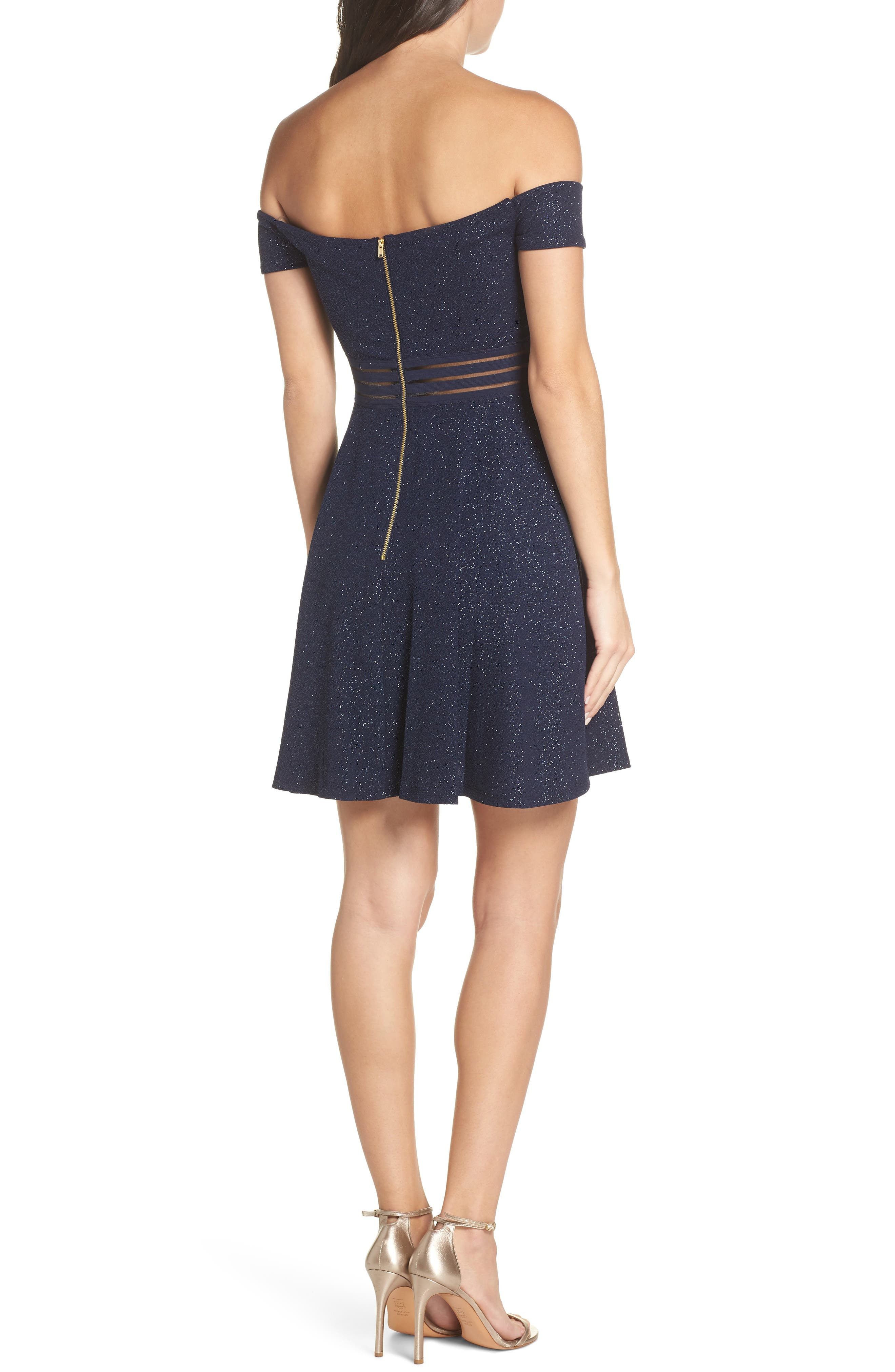 Off the Shoulder Glitter Knit Dress,                             Alternate thumbnail 2, color,                             NA NAVY