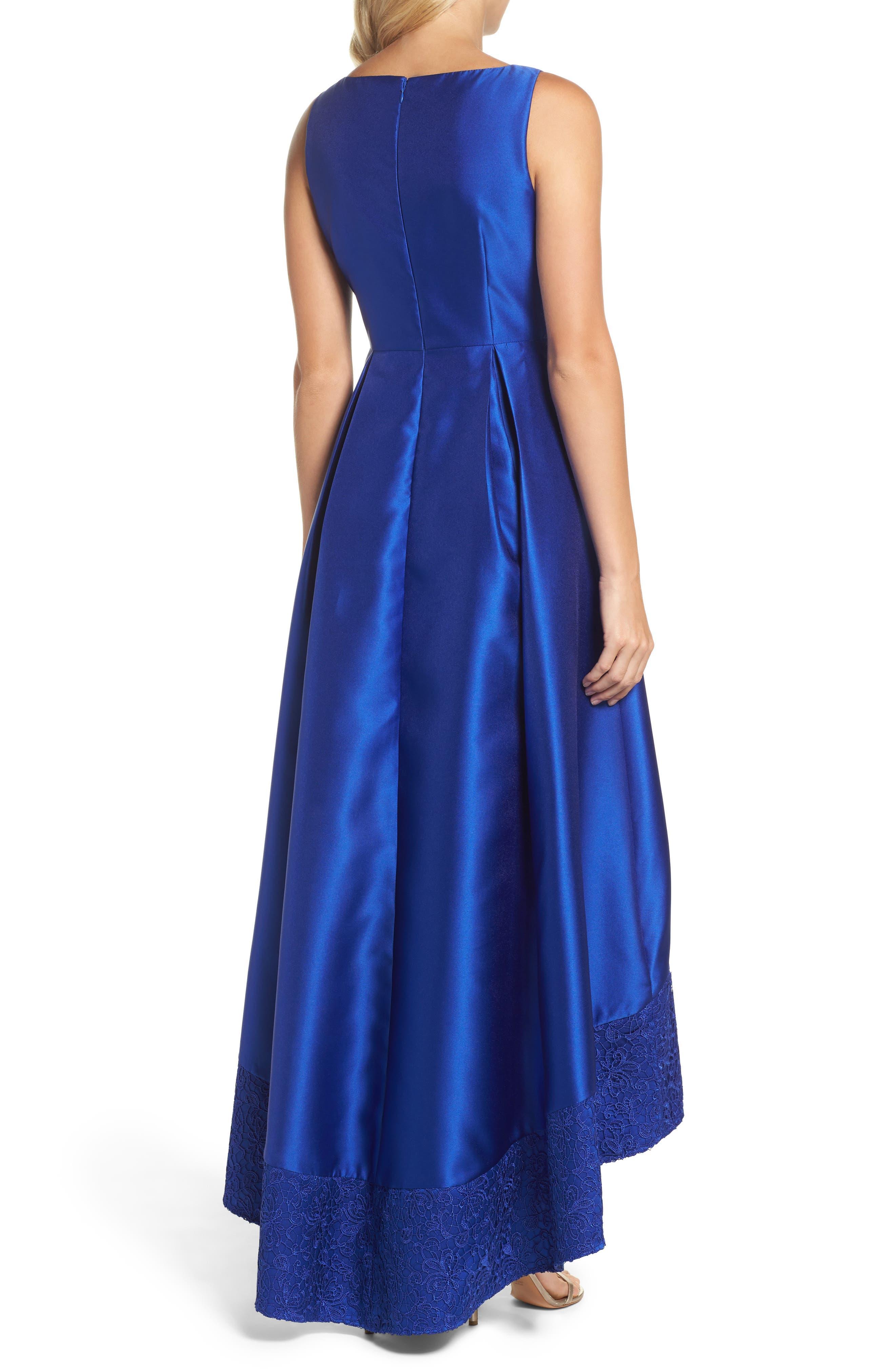 Lace Trim Mikado High/Low Gown,                             Alternate thumbnail 2, color,                             401