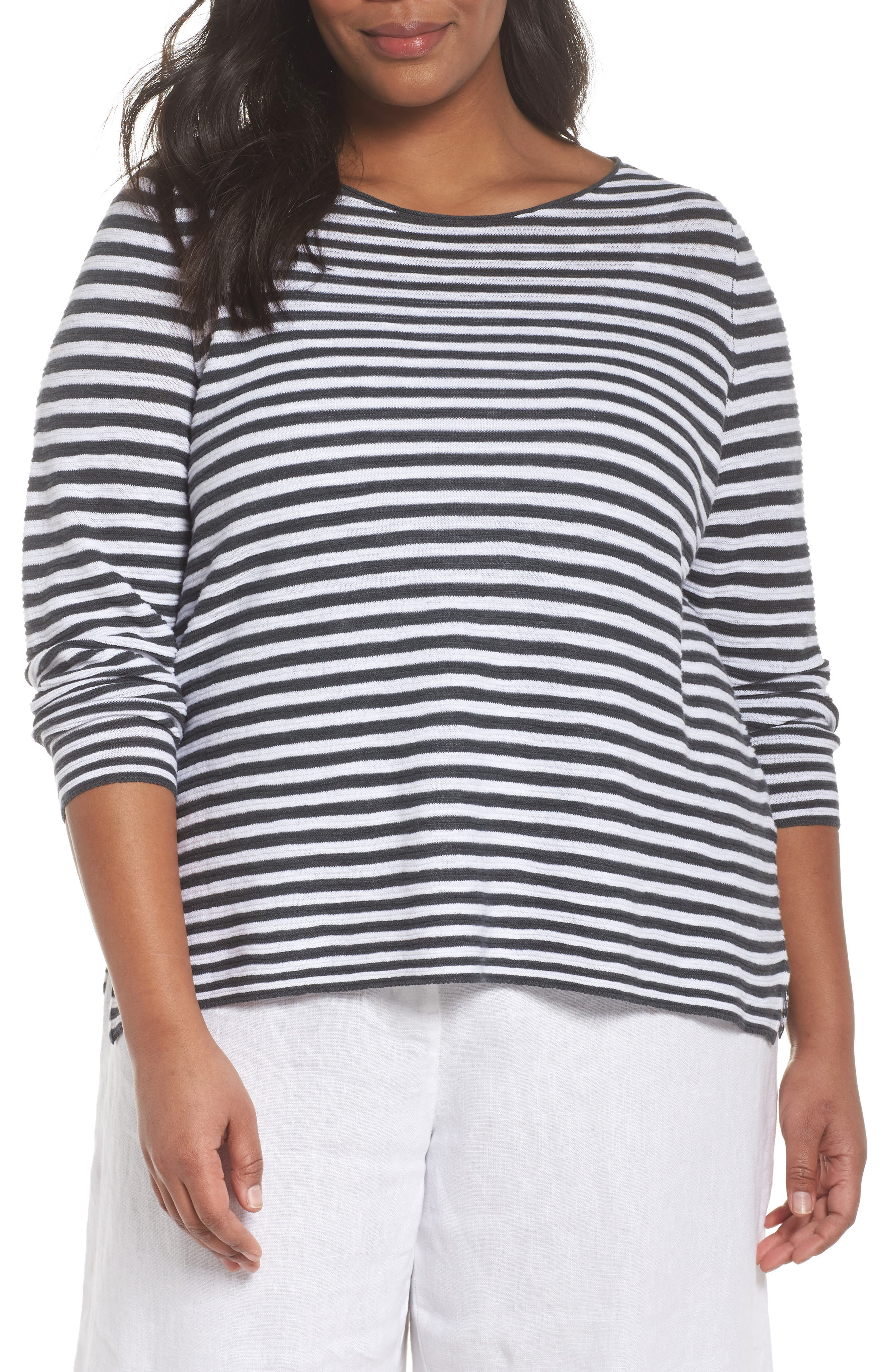 Stripe Organic Linen & Cotton Sweater,                         Main,                         color,