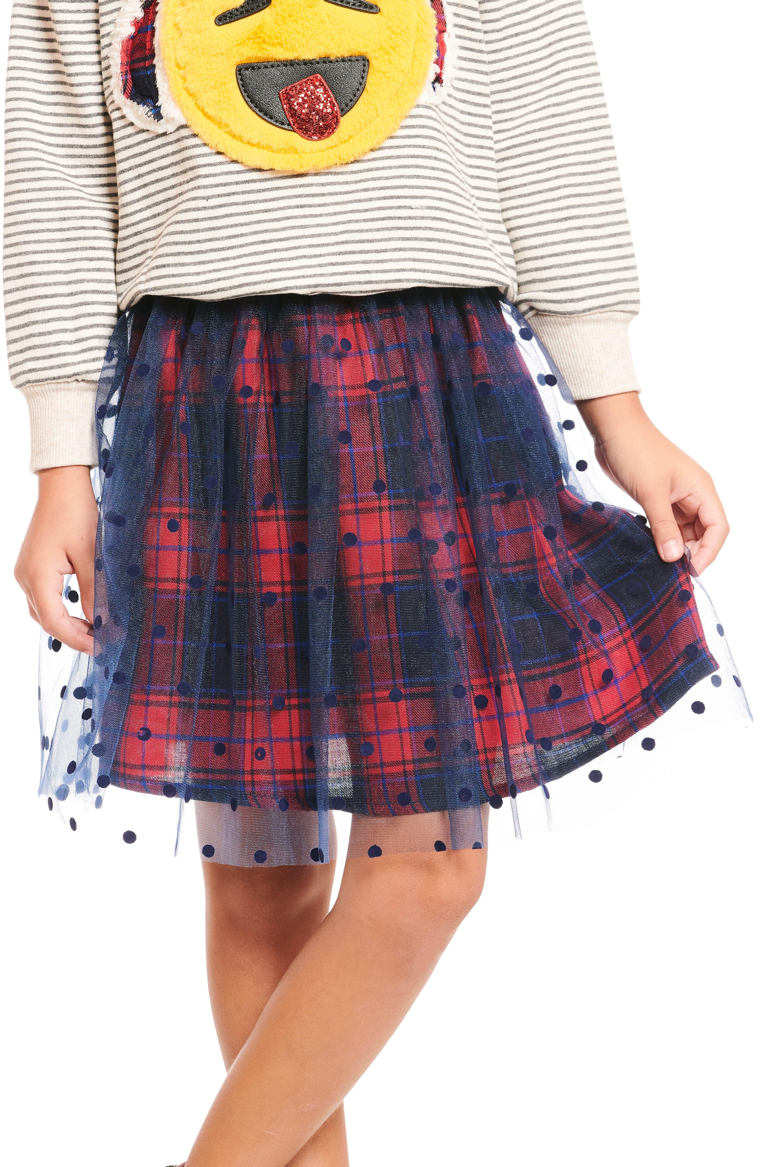 Polka Dot Plaid Tutu Skirt,                         Main,                         color, NAVY
