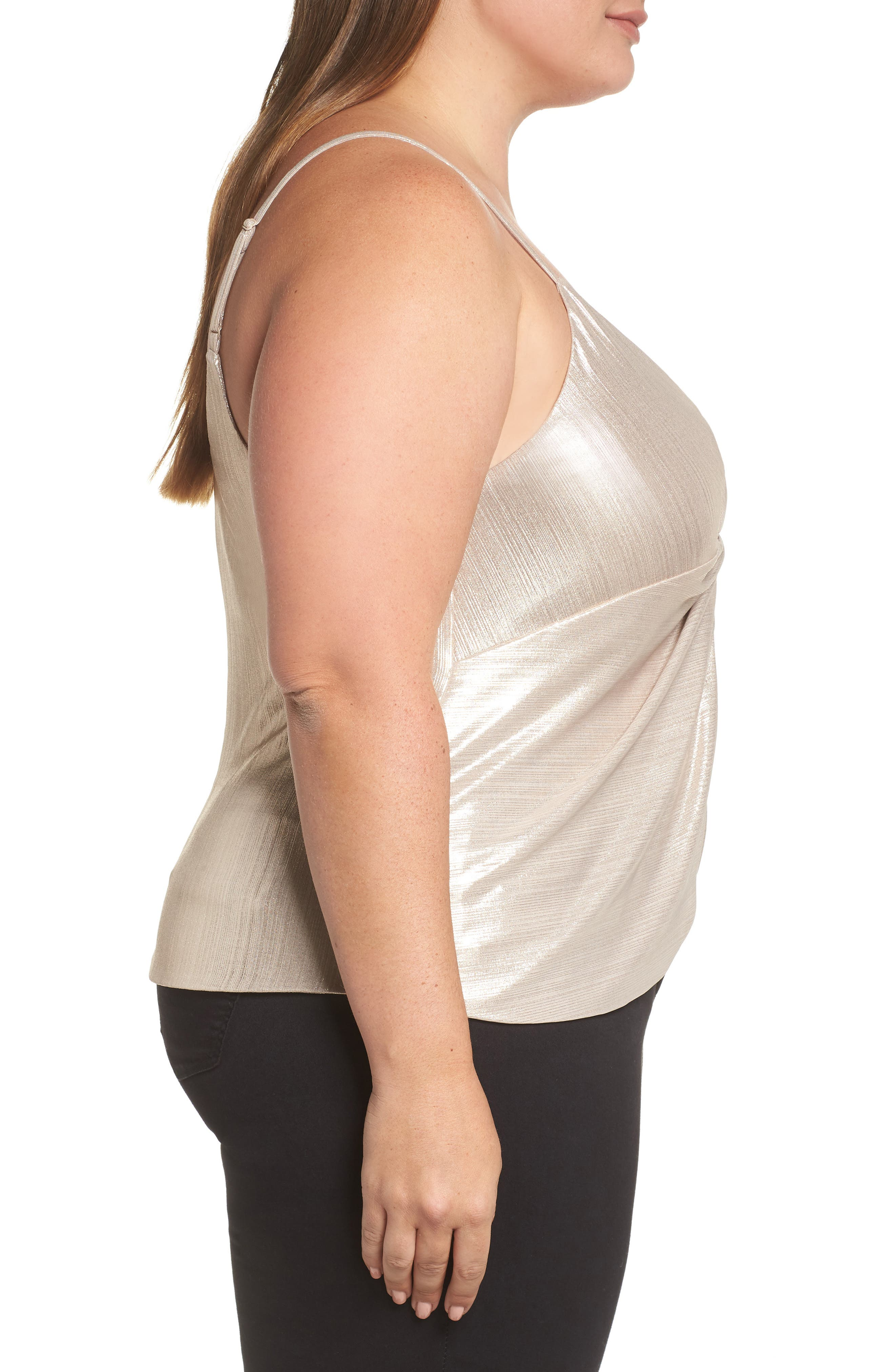 LEITH,                             Knot Front Metallic Camisole,                             Alternate thumbnail 3, color,                             710