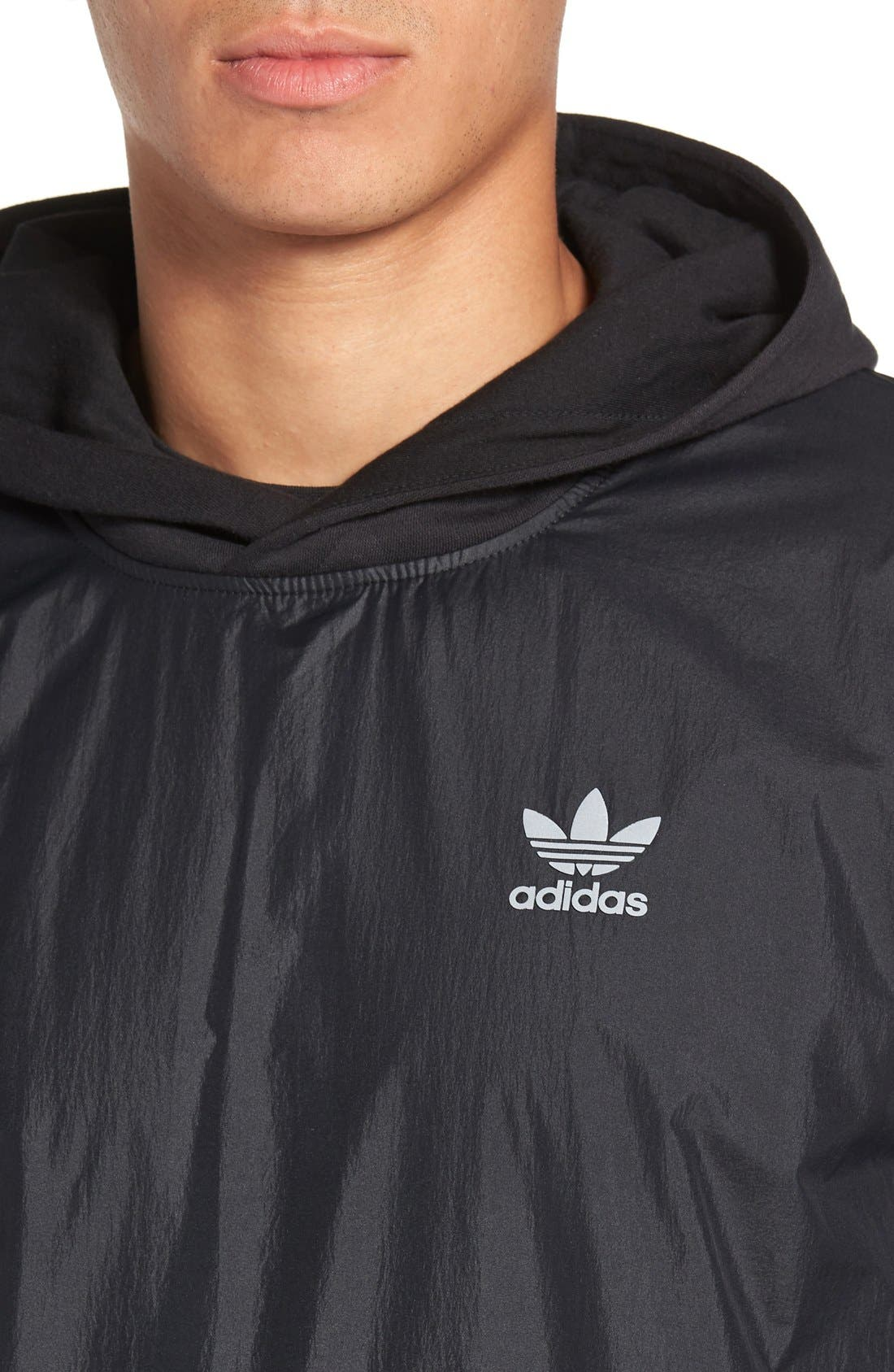 ADIDAS ORIGINALS,                             Sport Luxe Mix Hoodie,                             Alternate thumbnail 5, color,                             001